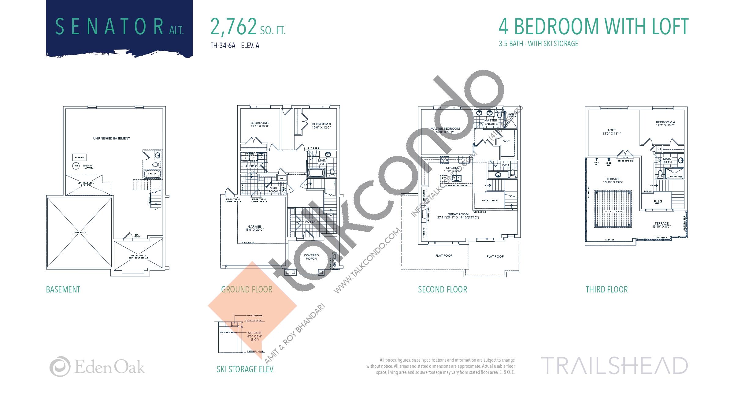 Senator Alt. (1/2) Floor Plan at Trailshead Towns - 2762 sq.ft