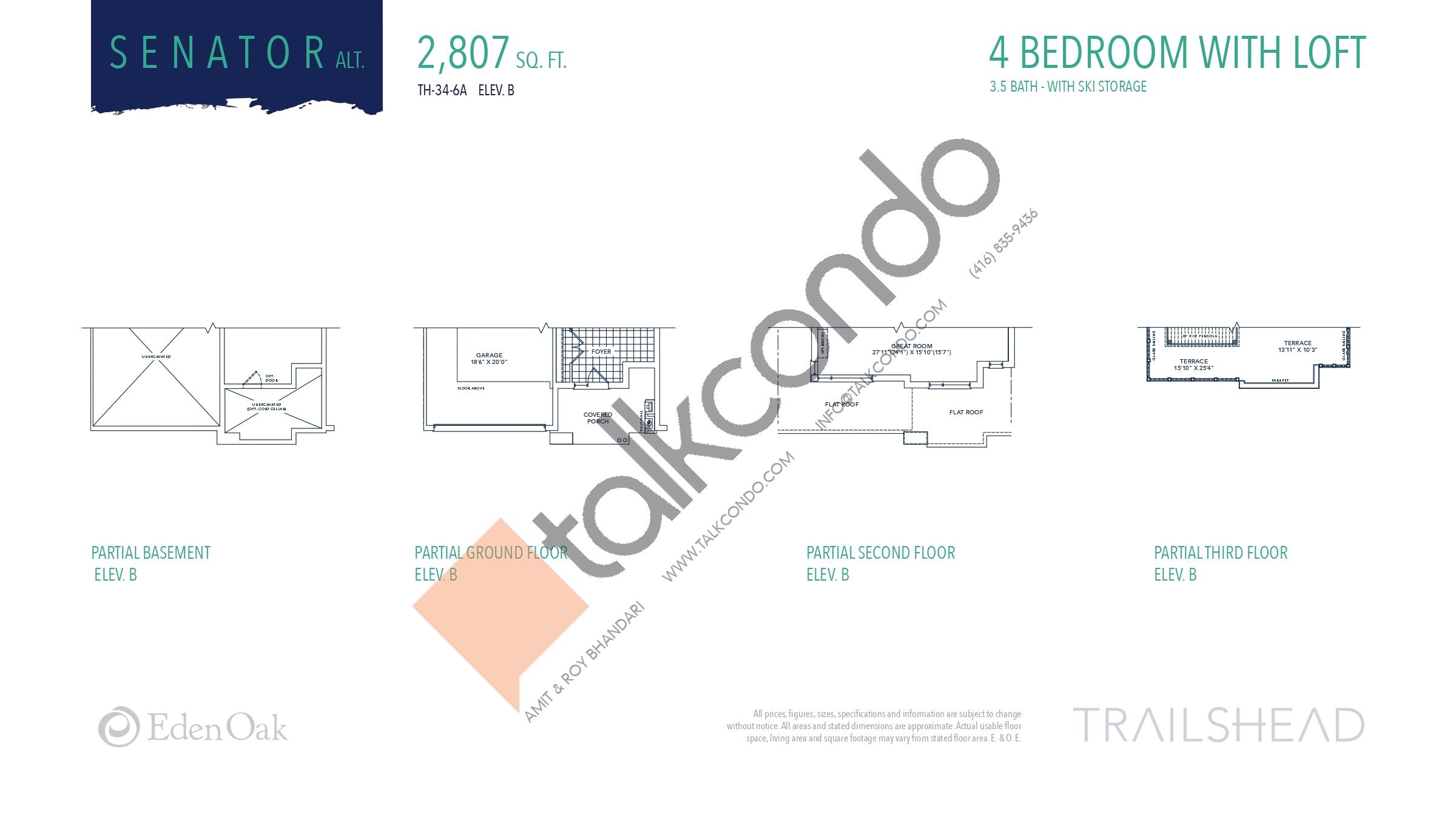 Senator Alt. (2/2) Floor Plan at Trailshead Towns - 2807 sq.ft