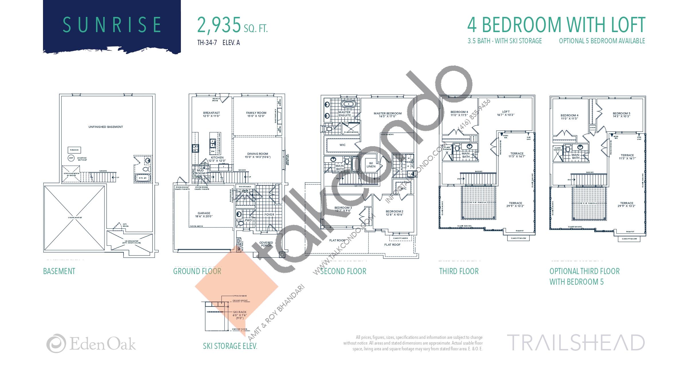 Sunrise (1/2) Floor Plan at Trailshead Towns - 2935 sq.ft