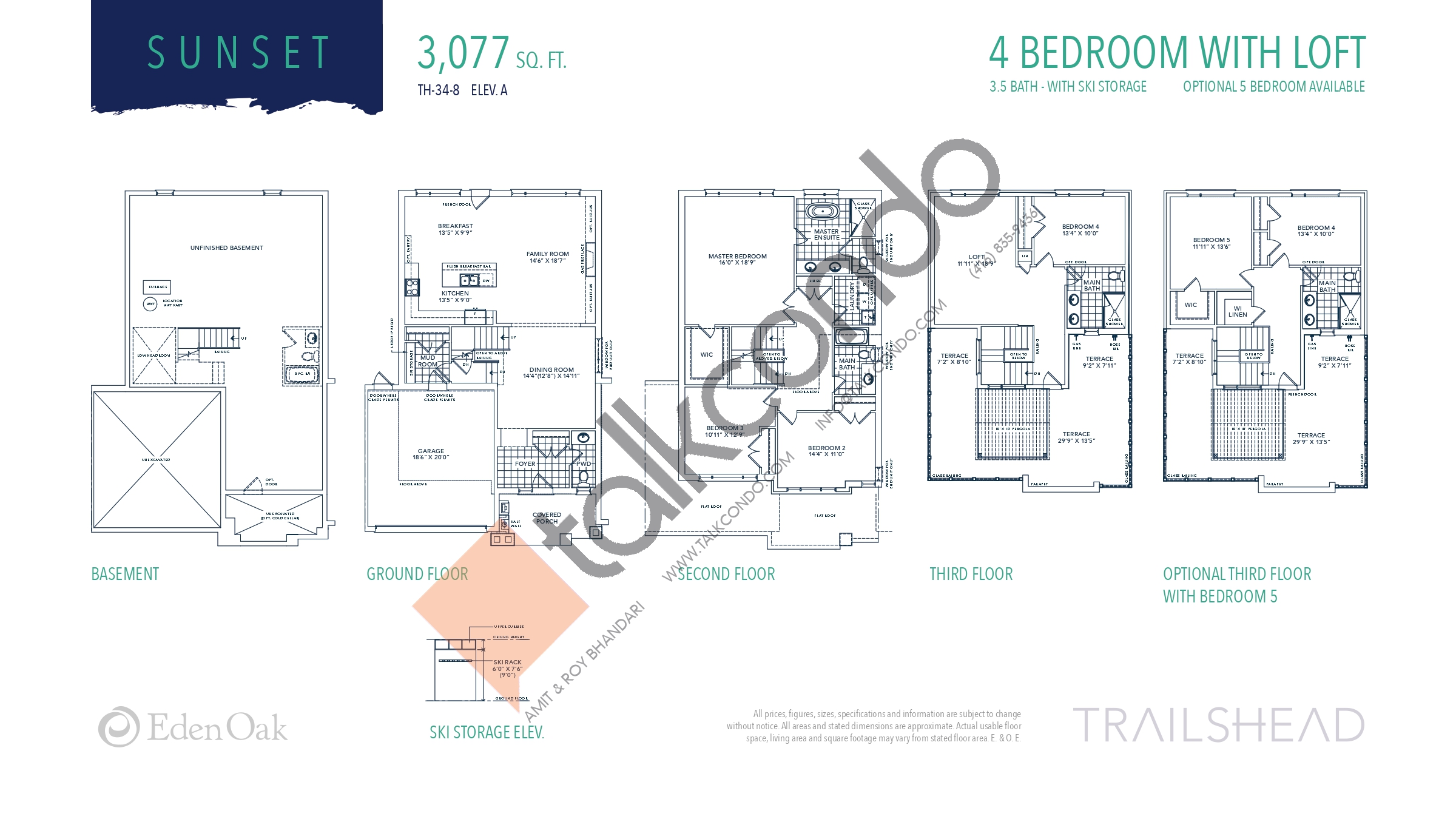 Sunset (1/3) Floor Plan at Trailshead Towns - 3077 sq.ft