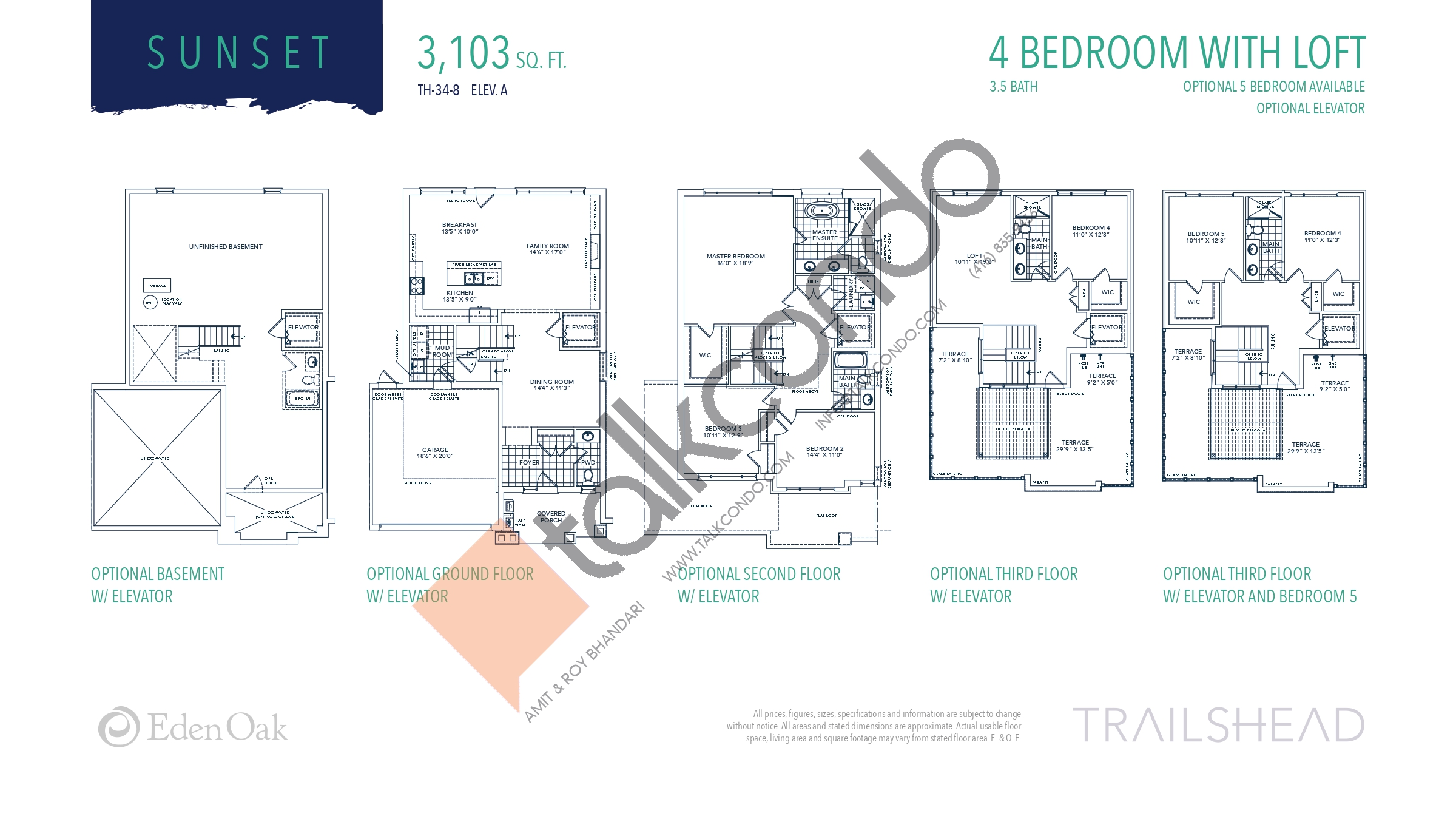 Sunset (2/3) Floor Plan at Trailshead Towns - 3103 sq.ft