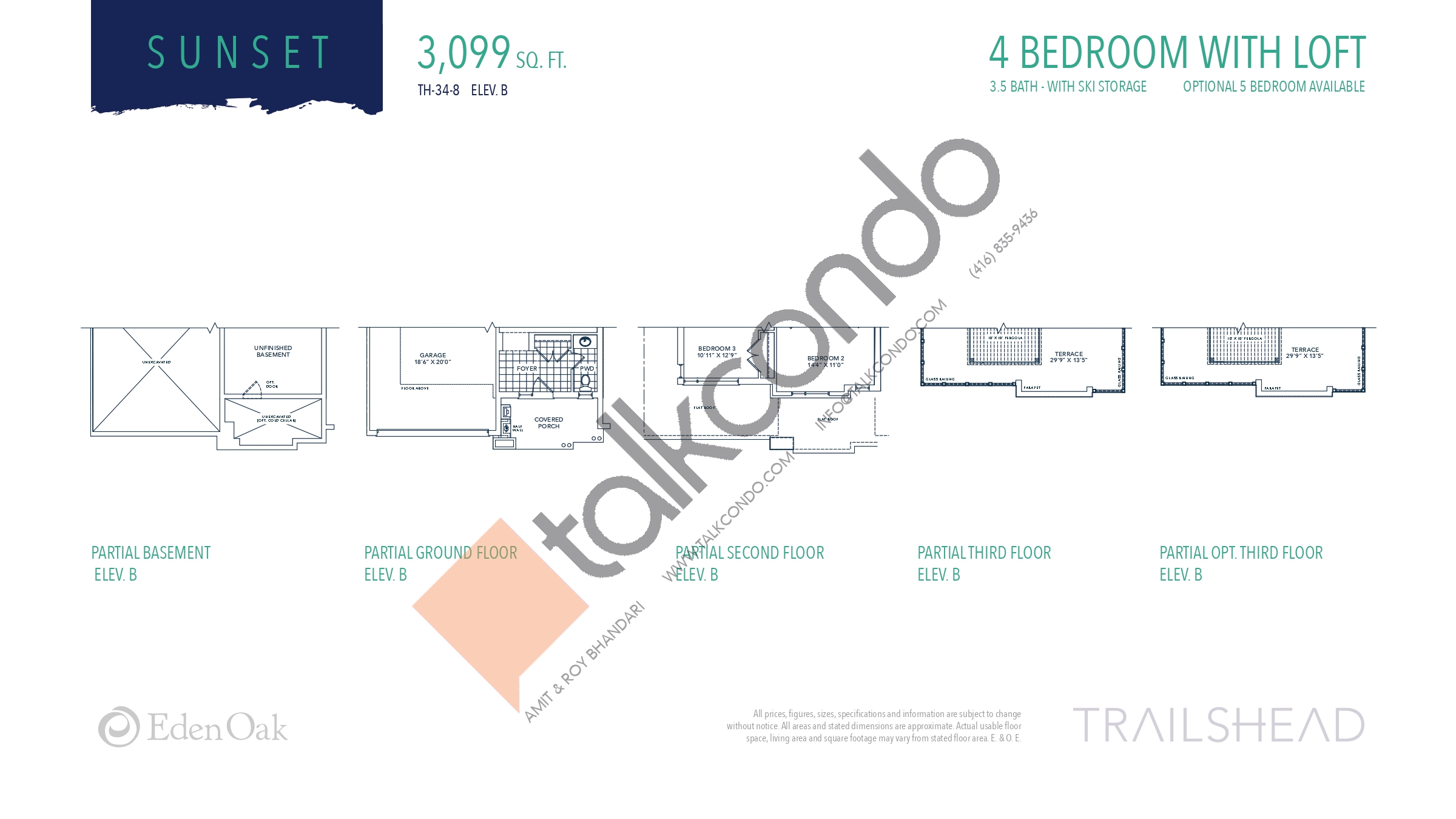 Sunset (3/3) Floor Plan at Trailshead Towns - 3099 sq.ft