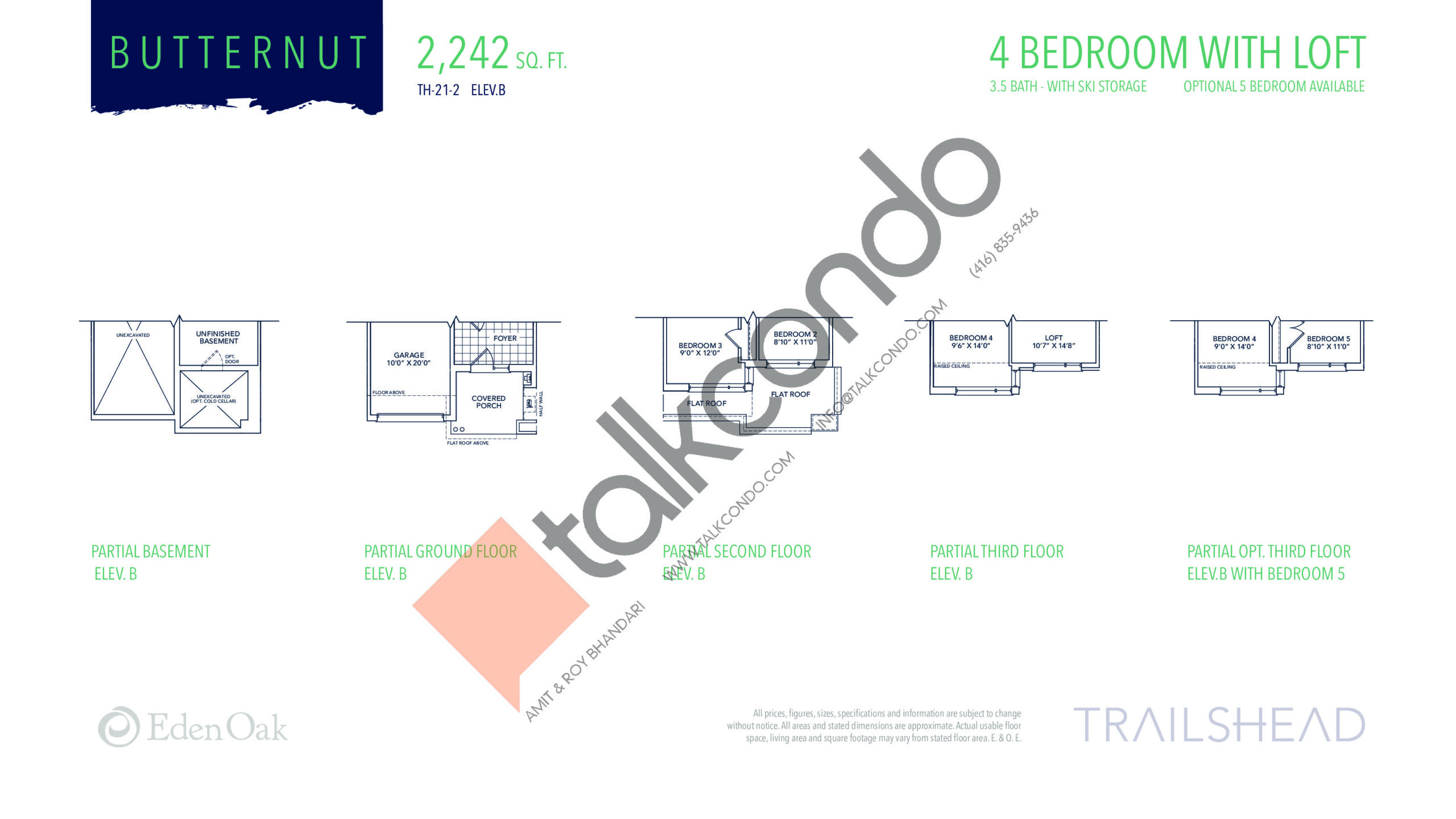 Butternut (2/2) Floor Plan at Trailshead Towns - 2242 sq.ft