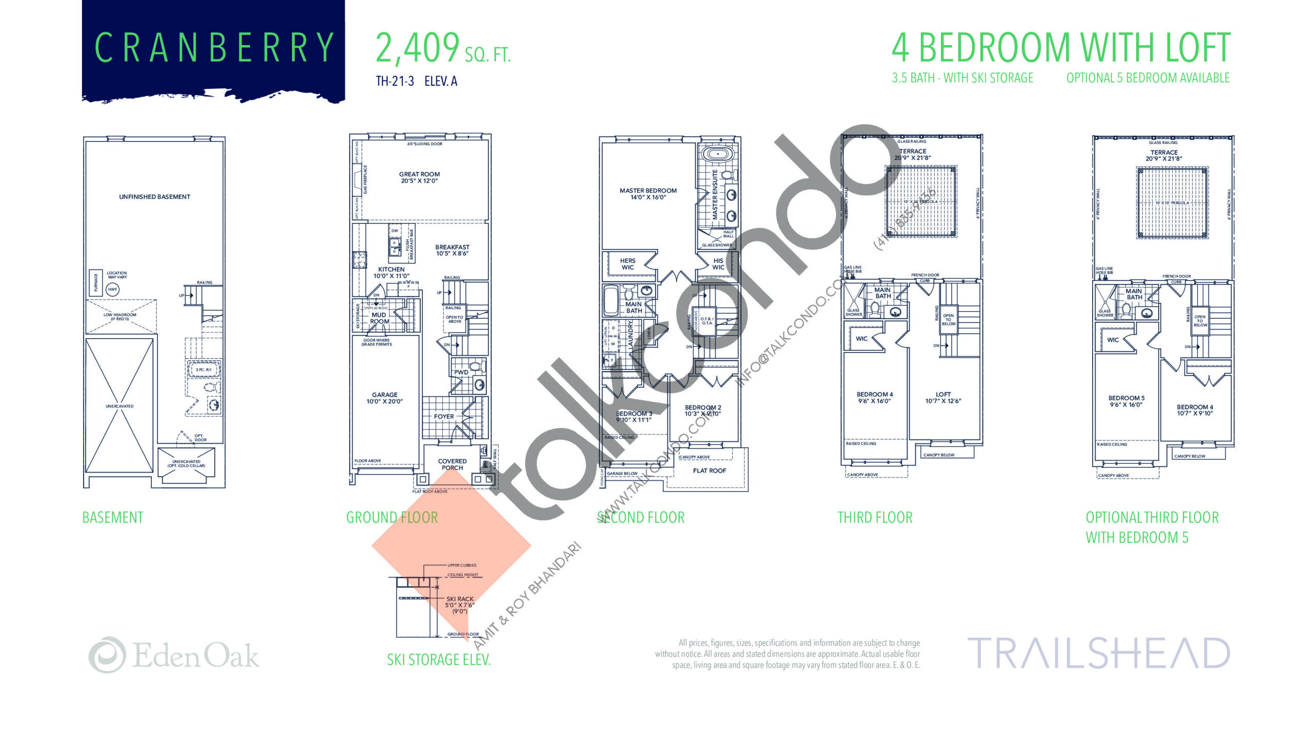 Cranberry (1/2) Floor Plan at Trailshead Towns - 2409 sq.ft