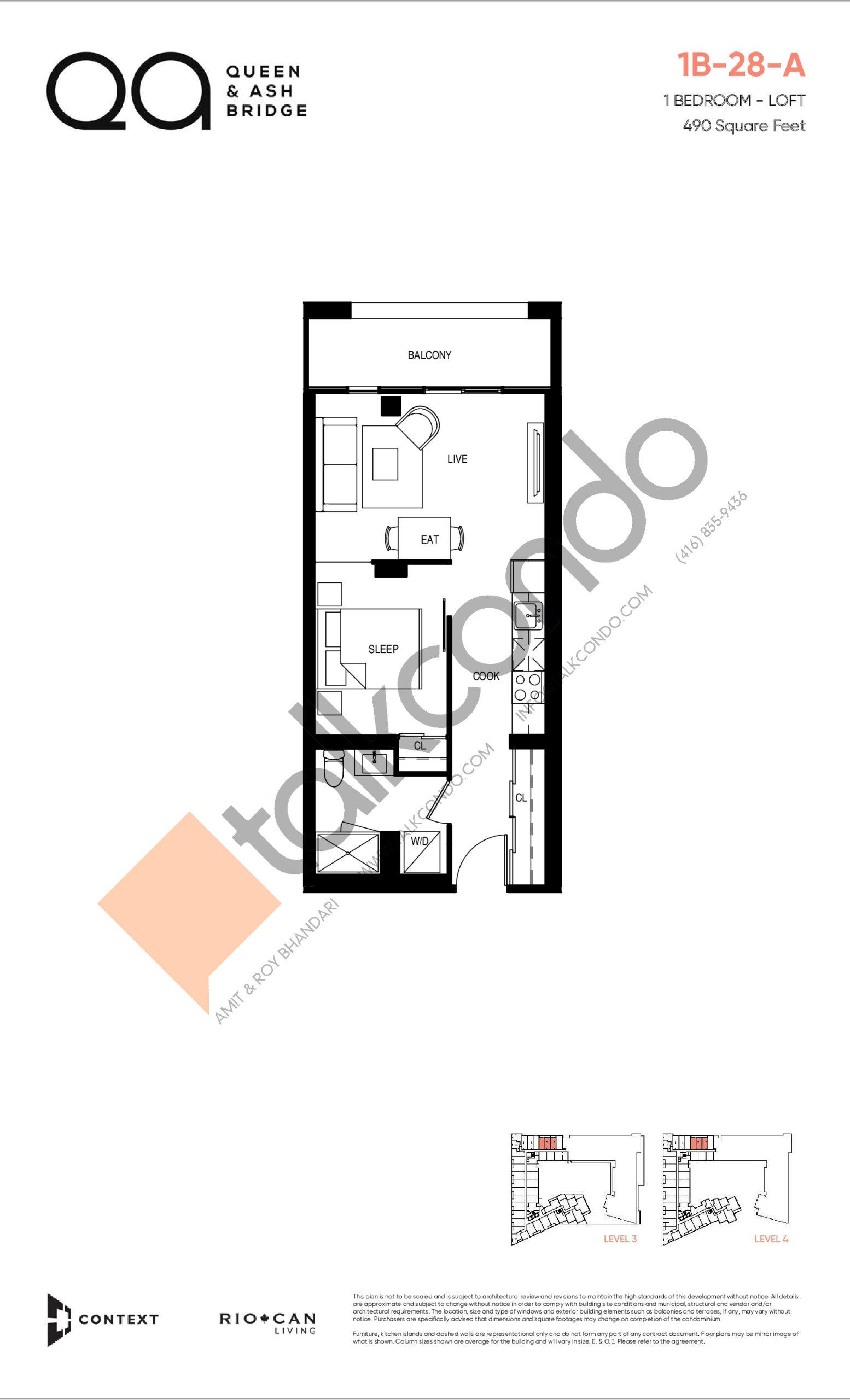 1B-28-A (Loft Collection) Floor Plan at QA Condos - 490 sq.ft