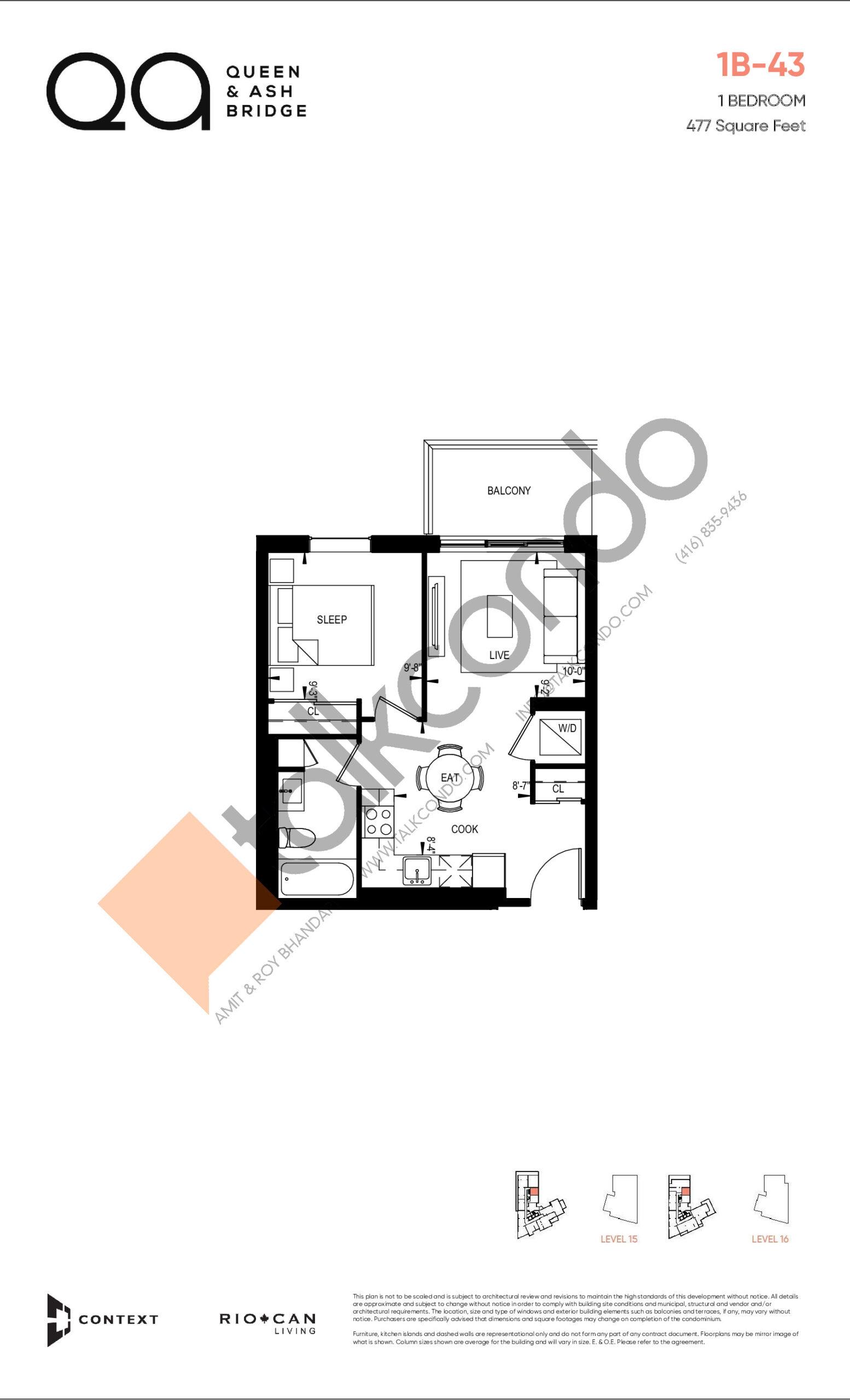 1B-43 Floor Plan at QA Condos - 477 sq.ft