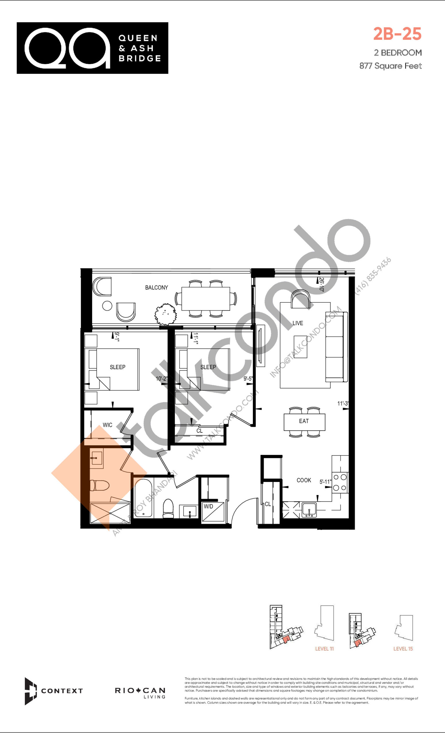 2B-25 (Ashbridge Collection) Floor Plan at QA Condos - 877 sq.ft