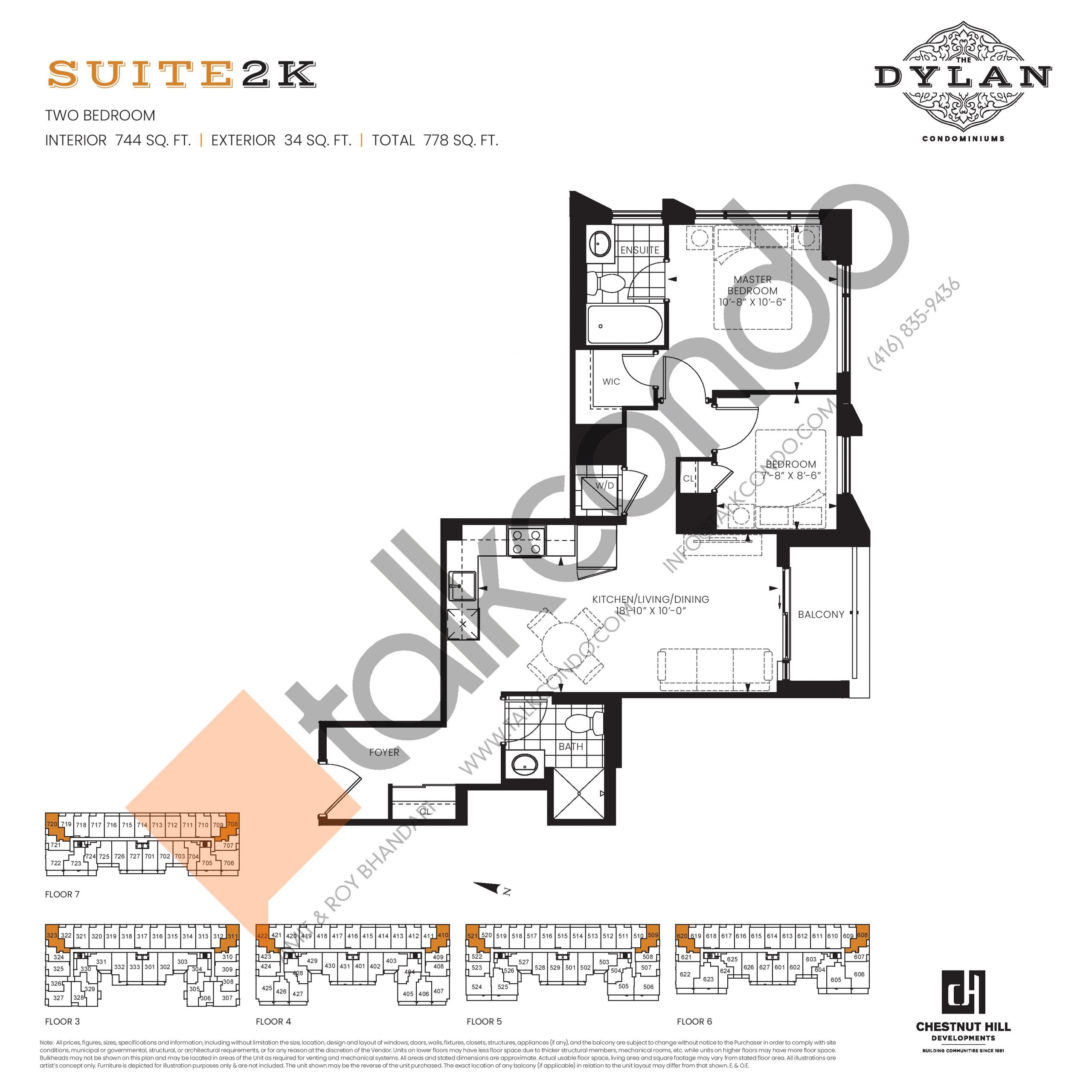 Suite 2K Floor Plan at The Dylan Condos - 744 sq.ft