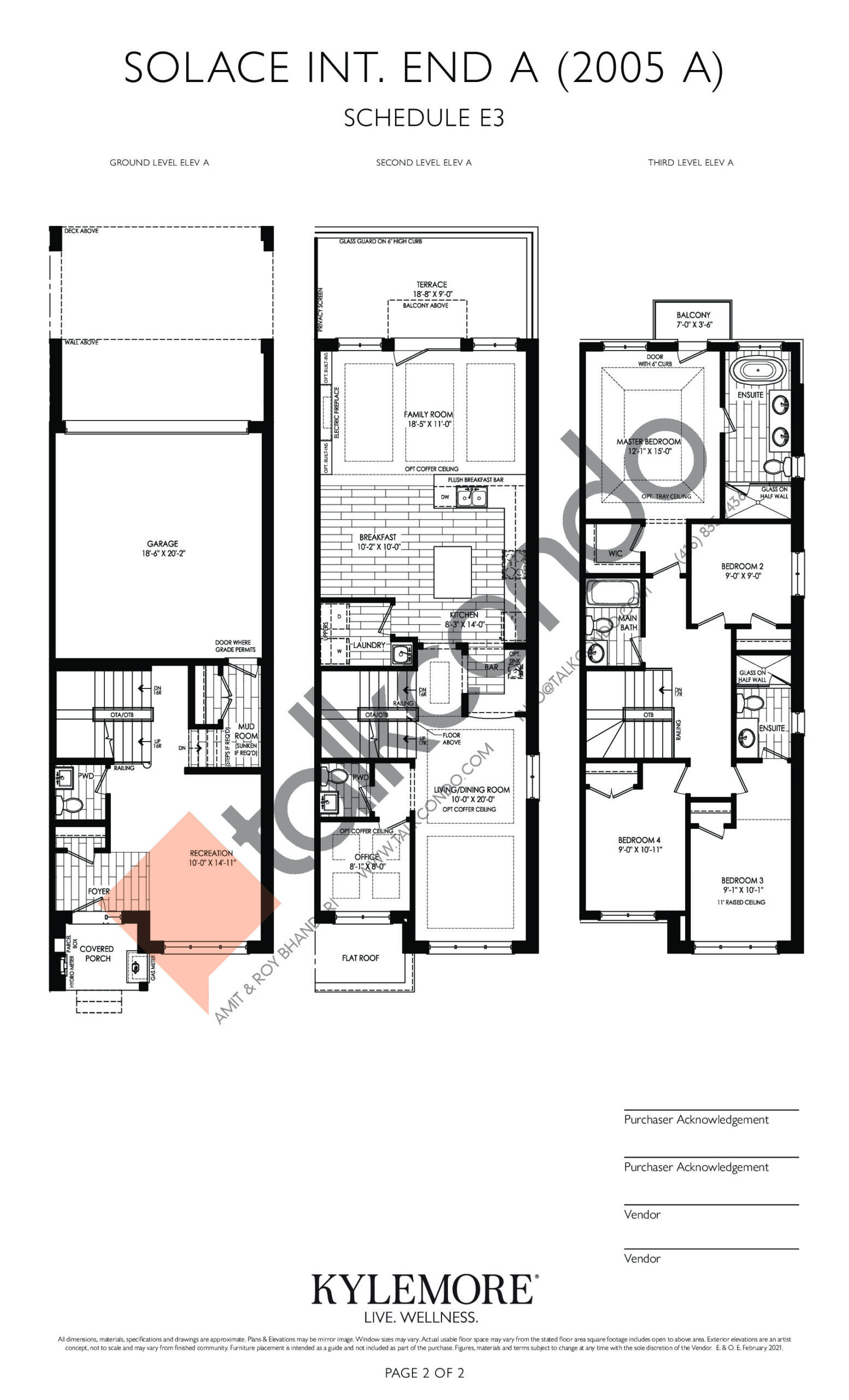 Solace Int. End A Floor Plan at Angus Glen South Village - 2770 sq.ft