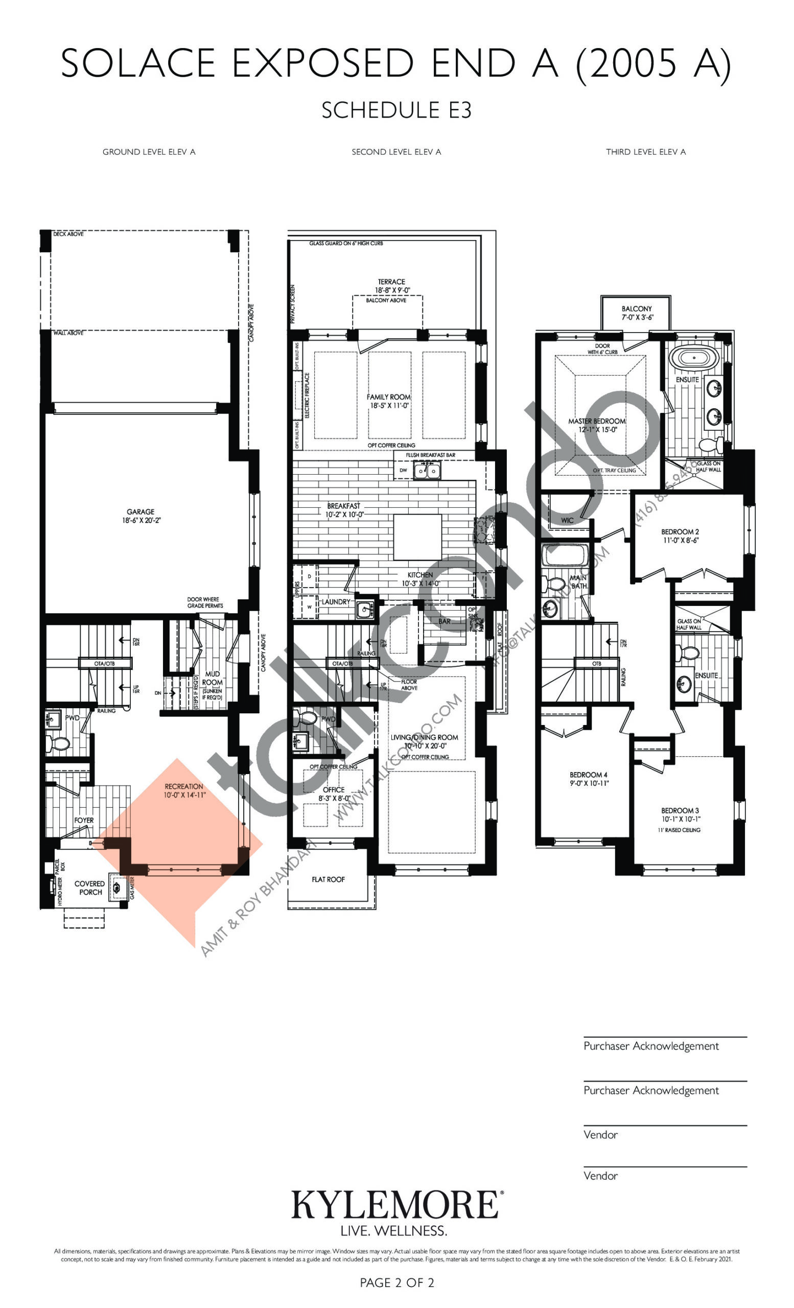 Solace Exposed End A Floor Plan at Angus Glen South Village - 2770 sq.ft