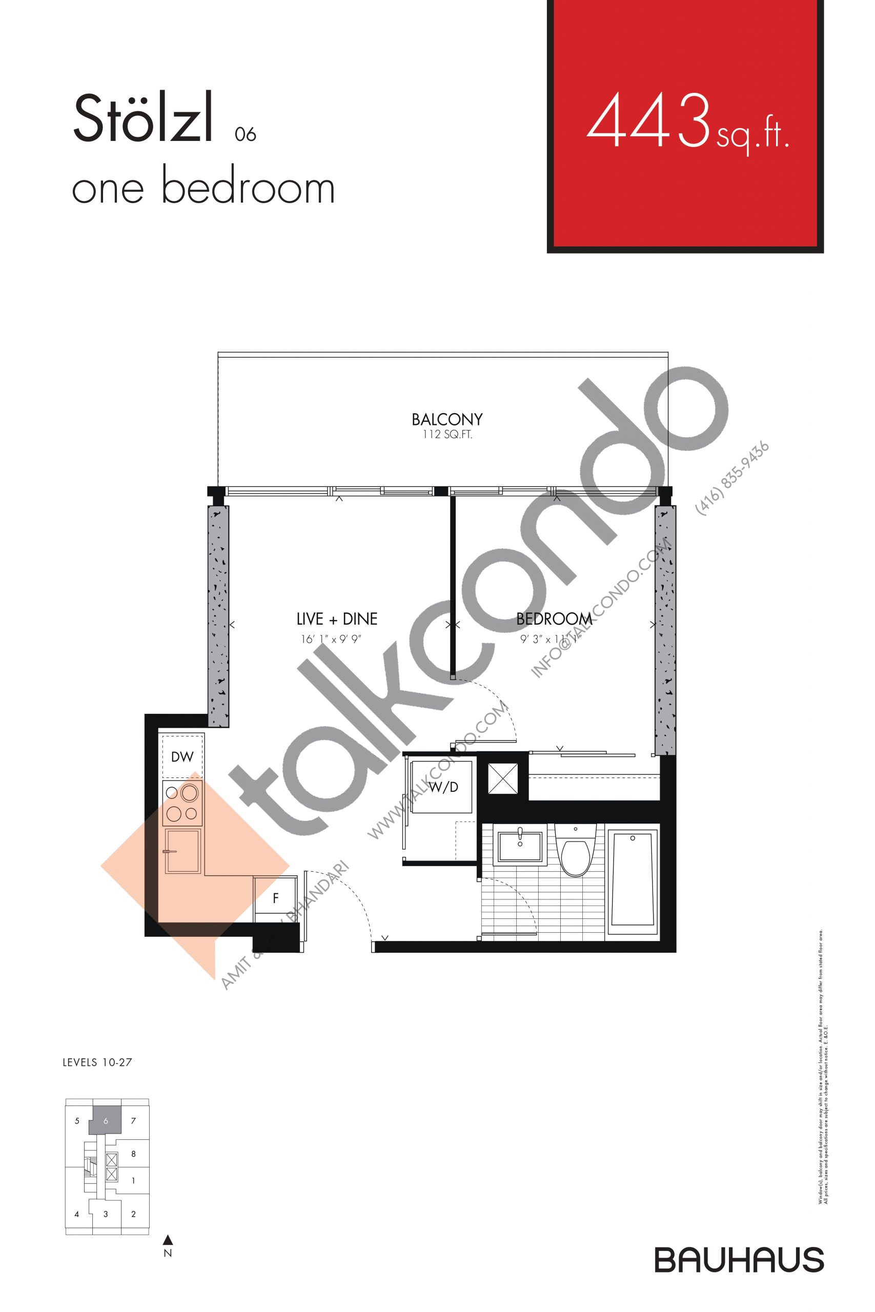 Stolzl Floor Plan at Bauhaus Condos - 443 sq.ft
