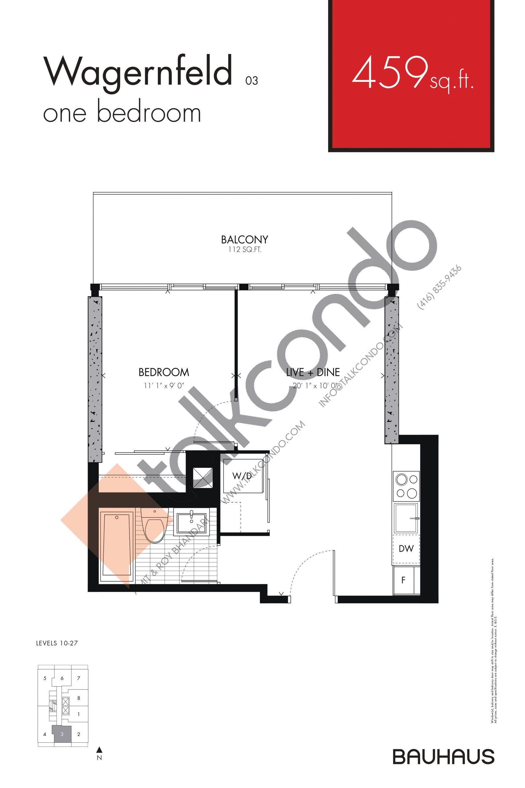 Wagernfeld Floor Plan at Bauhaus Condos - 459 sq.ft