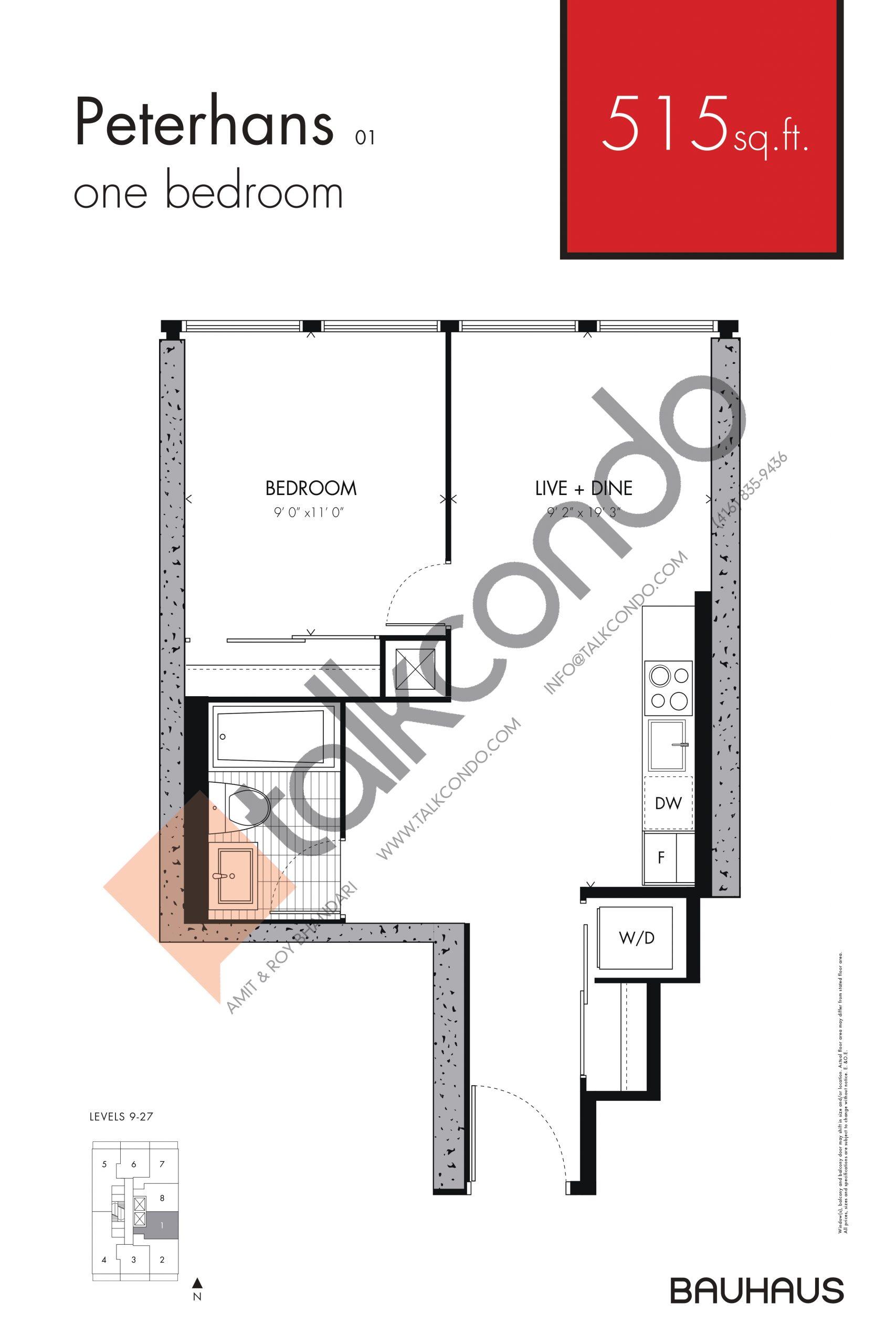 Peterhans Floor Plan at Bauhaus Condos - 515 sq.ft