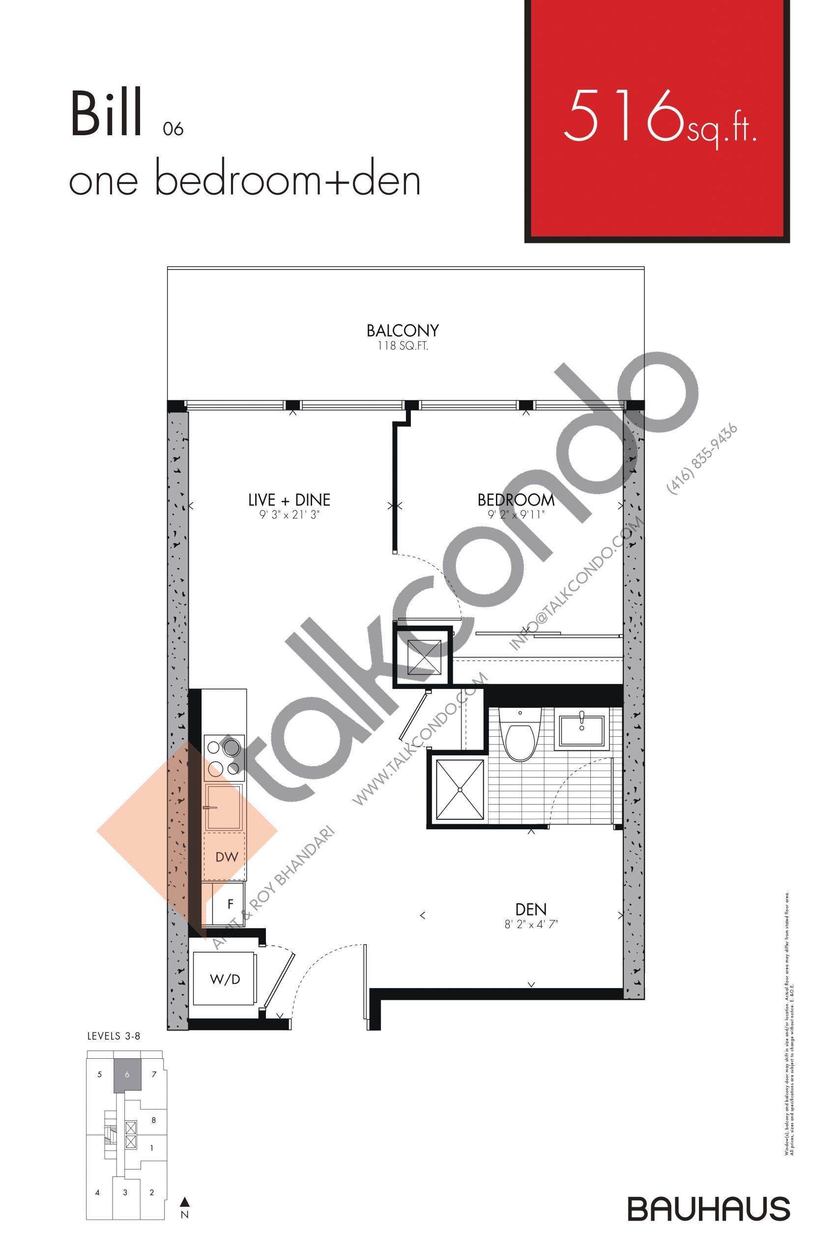Bill Floor Plan at Bauhaus Condos - 516 sq.ft