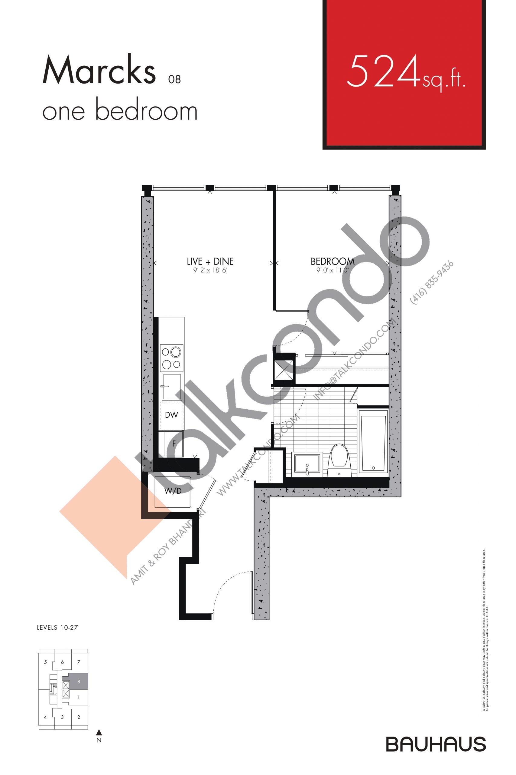 Marcks Floor Plan at Bauhaus Condos - 524 sq.ft