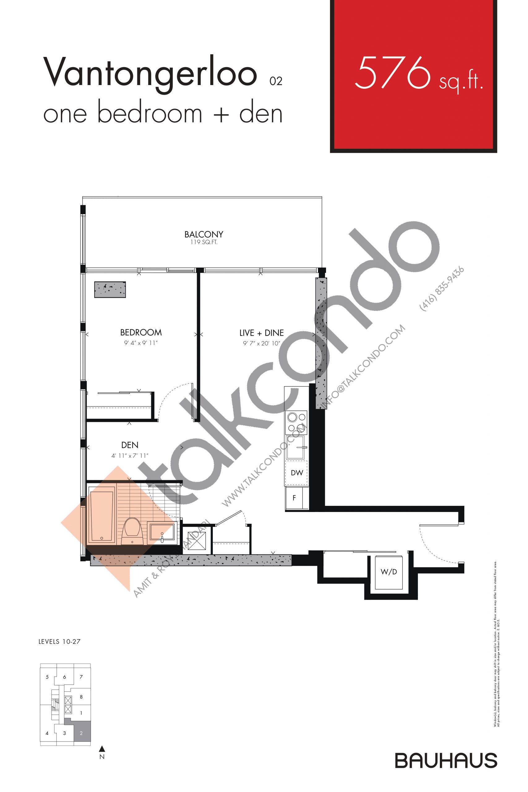 Vantongerloo Floor Plan at Bauhaus Condos - 576 sq.ft
