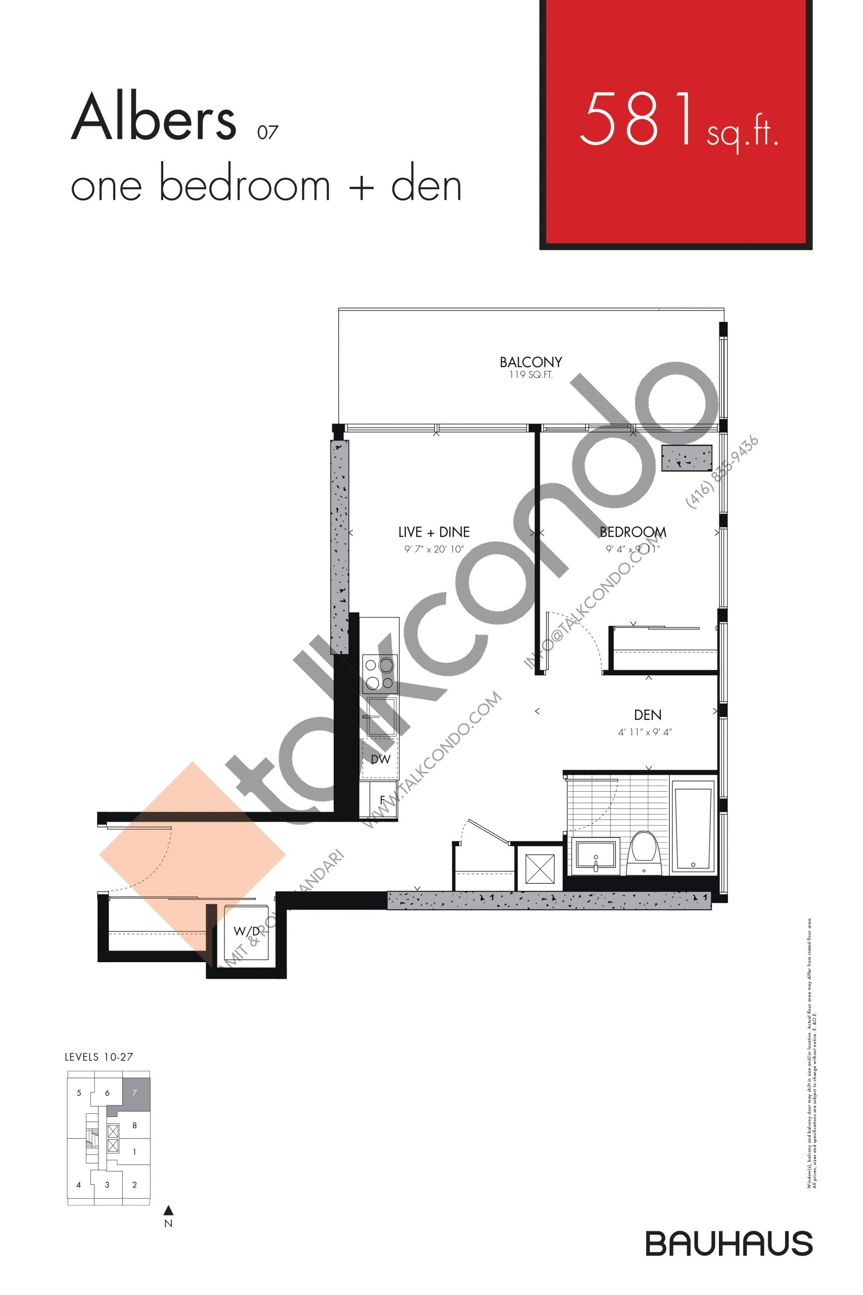 Albers Floor Plan at Bauhaus Condos - 581 sq.ft