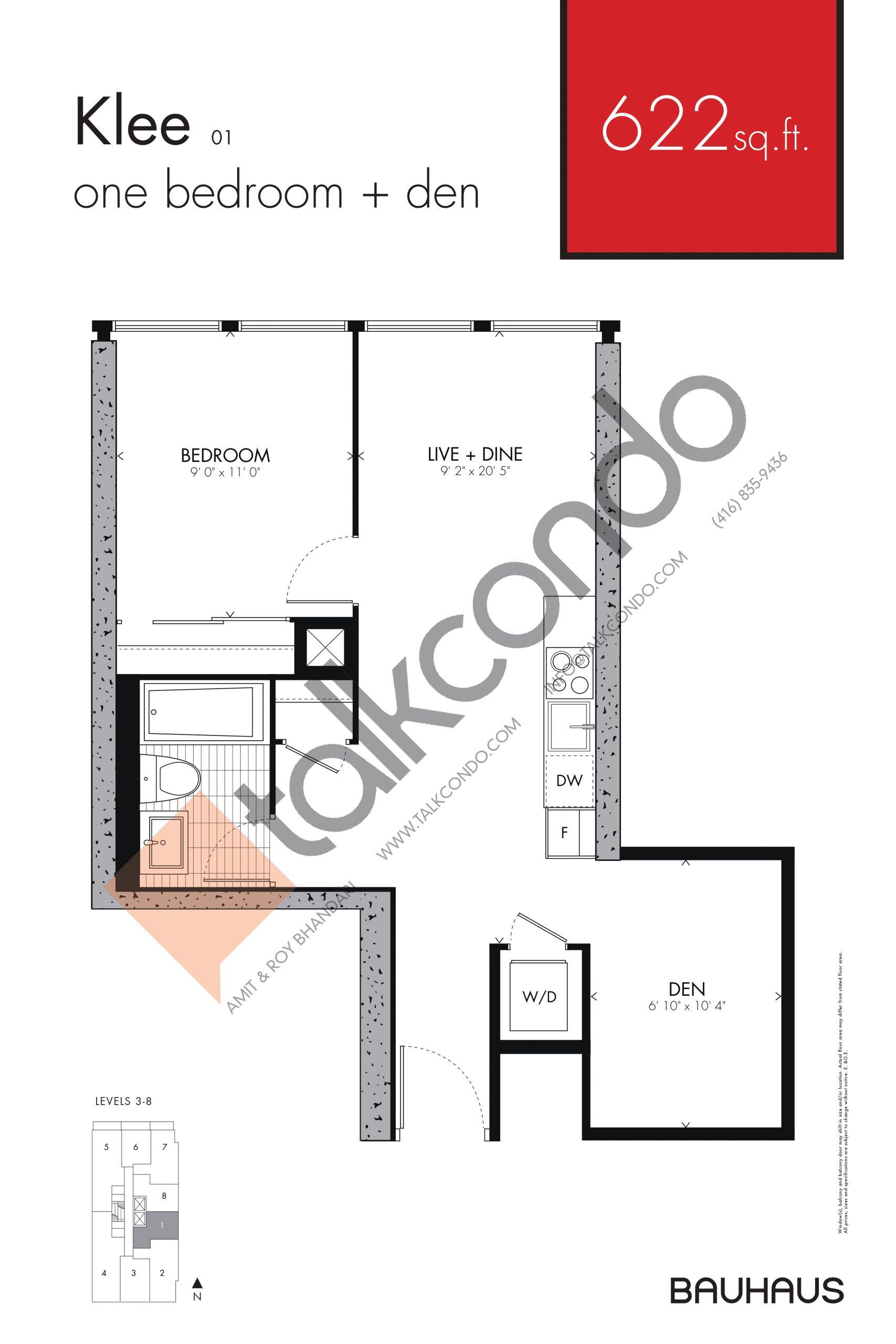 Klee Floor Plan at Bauhaus Condos - 622 sq.ft