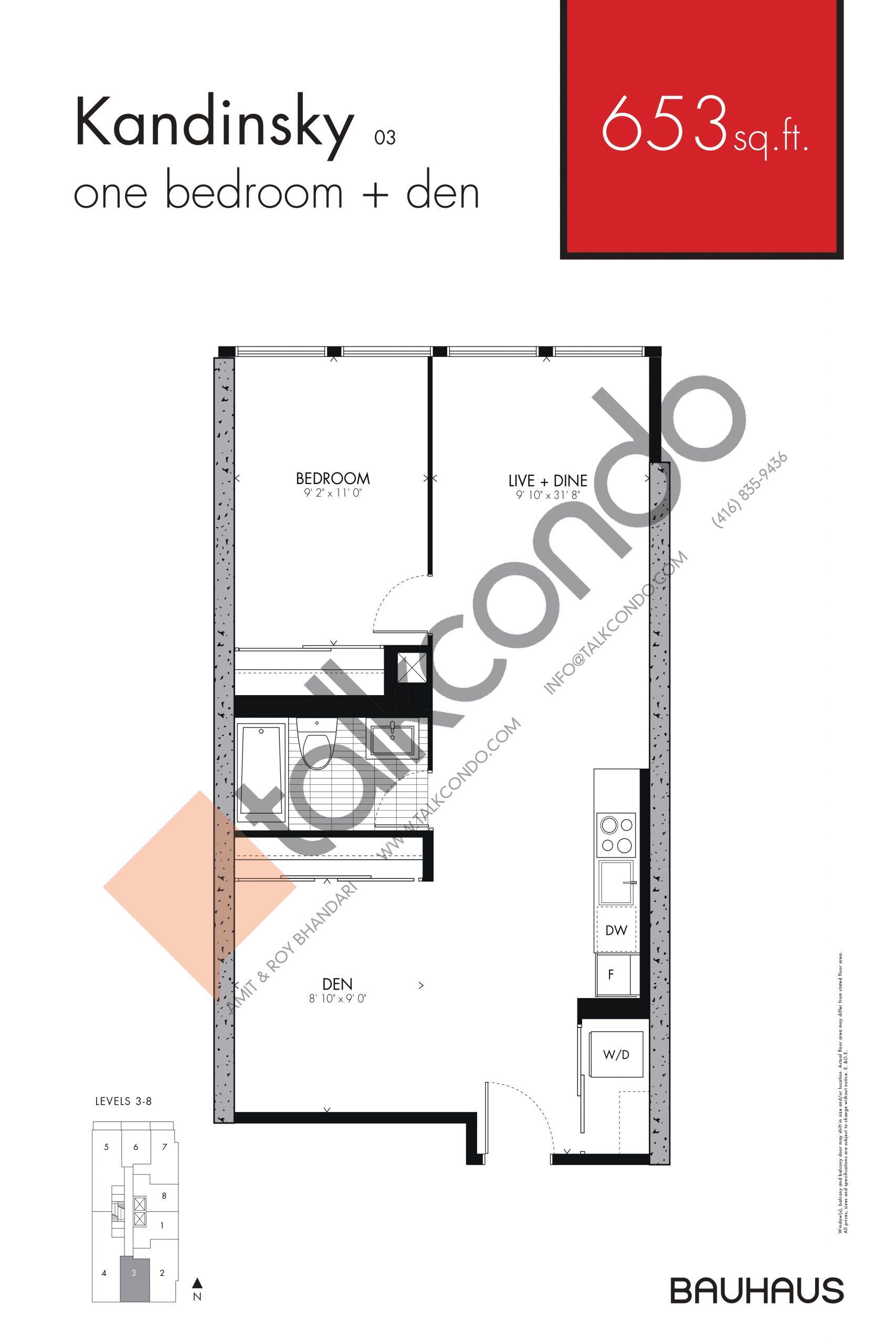 Kandinsky Floor Plan at Bauhaus Condos - 653 sq.ft