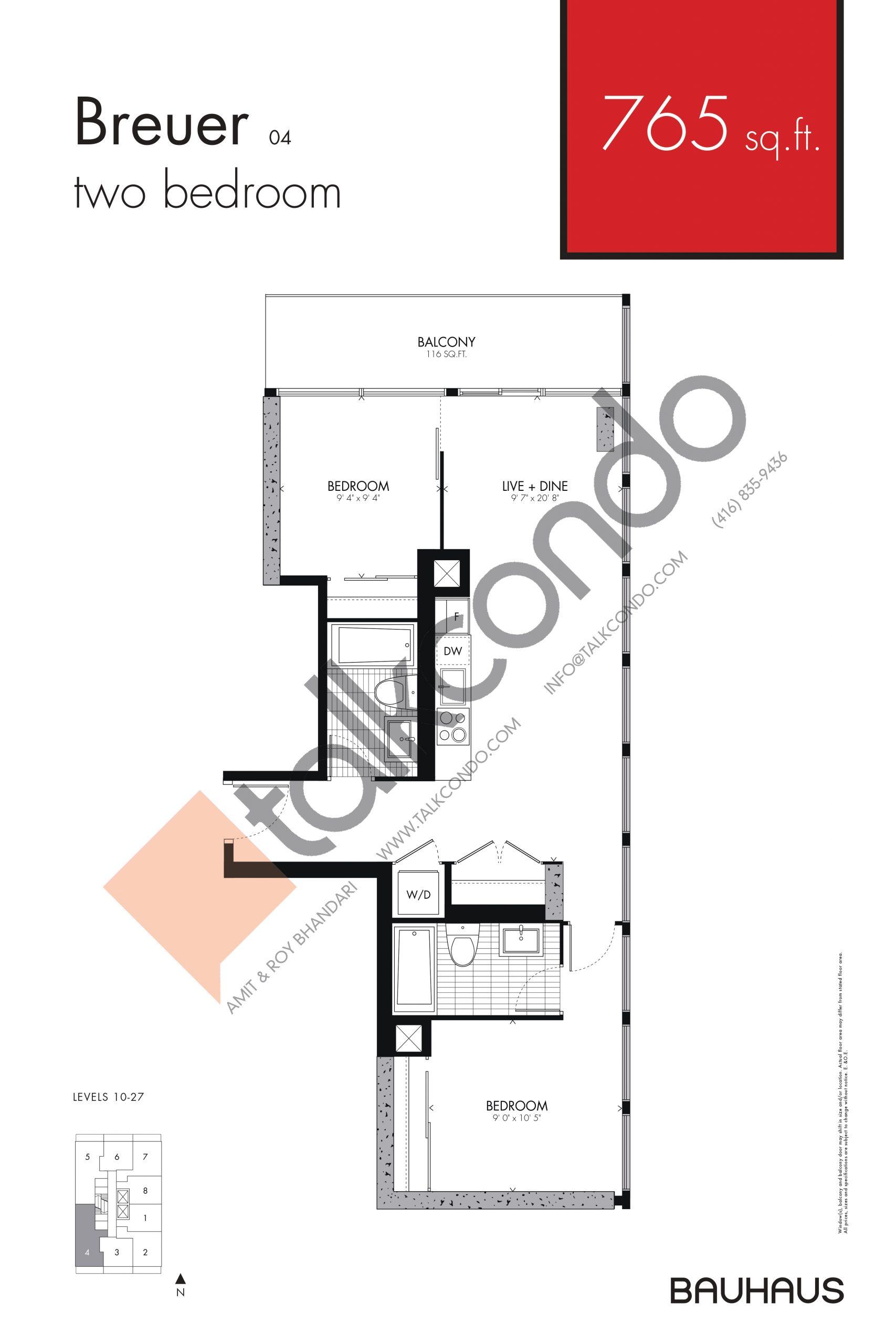 Breuer Floor Plan at Bauhaus Condos - 765 sq.ft