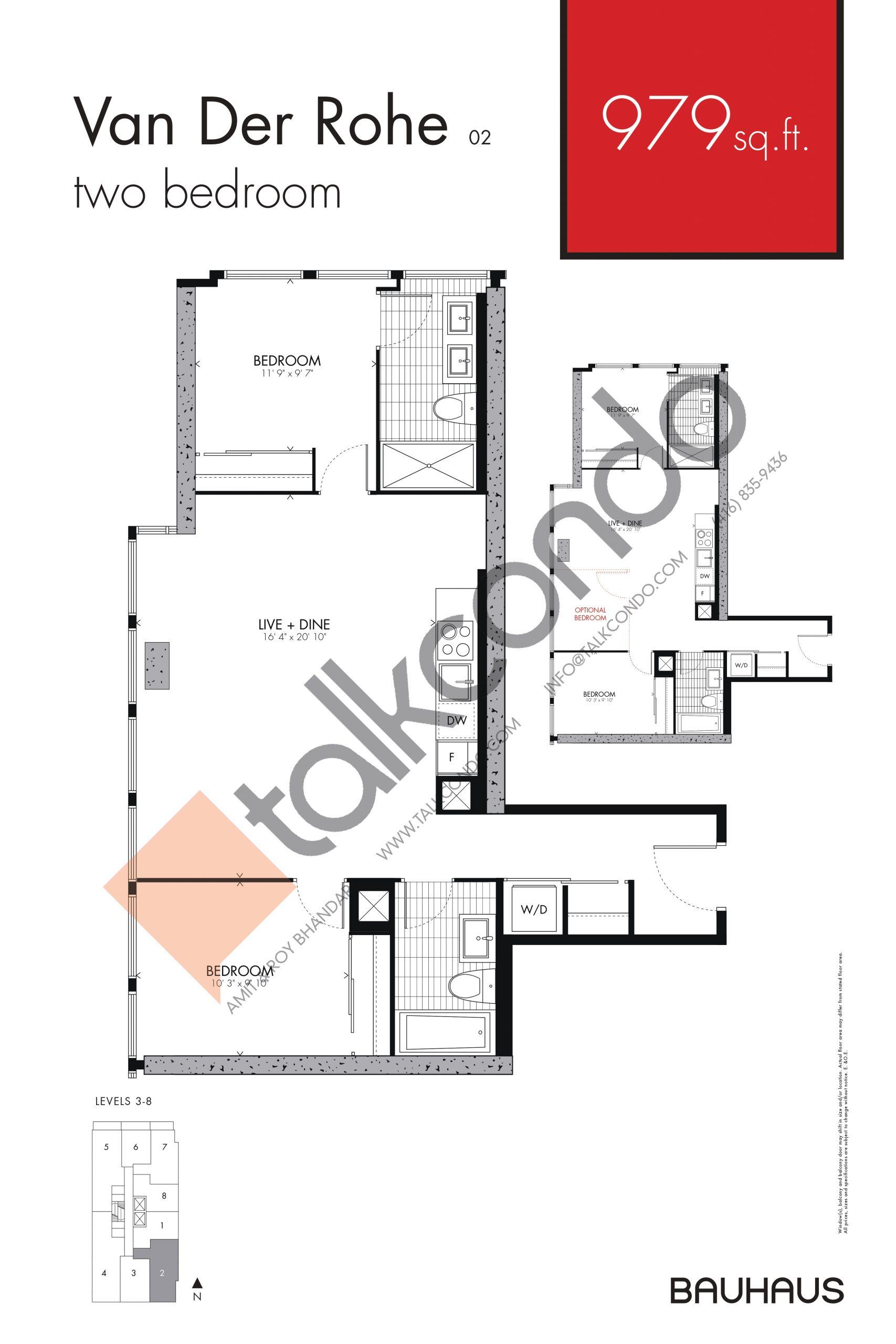Van Der Rohe Floor Plan at Bauhaus Condos - 979 sq.ft