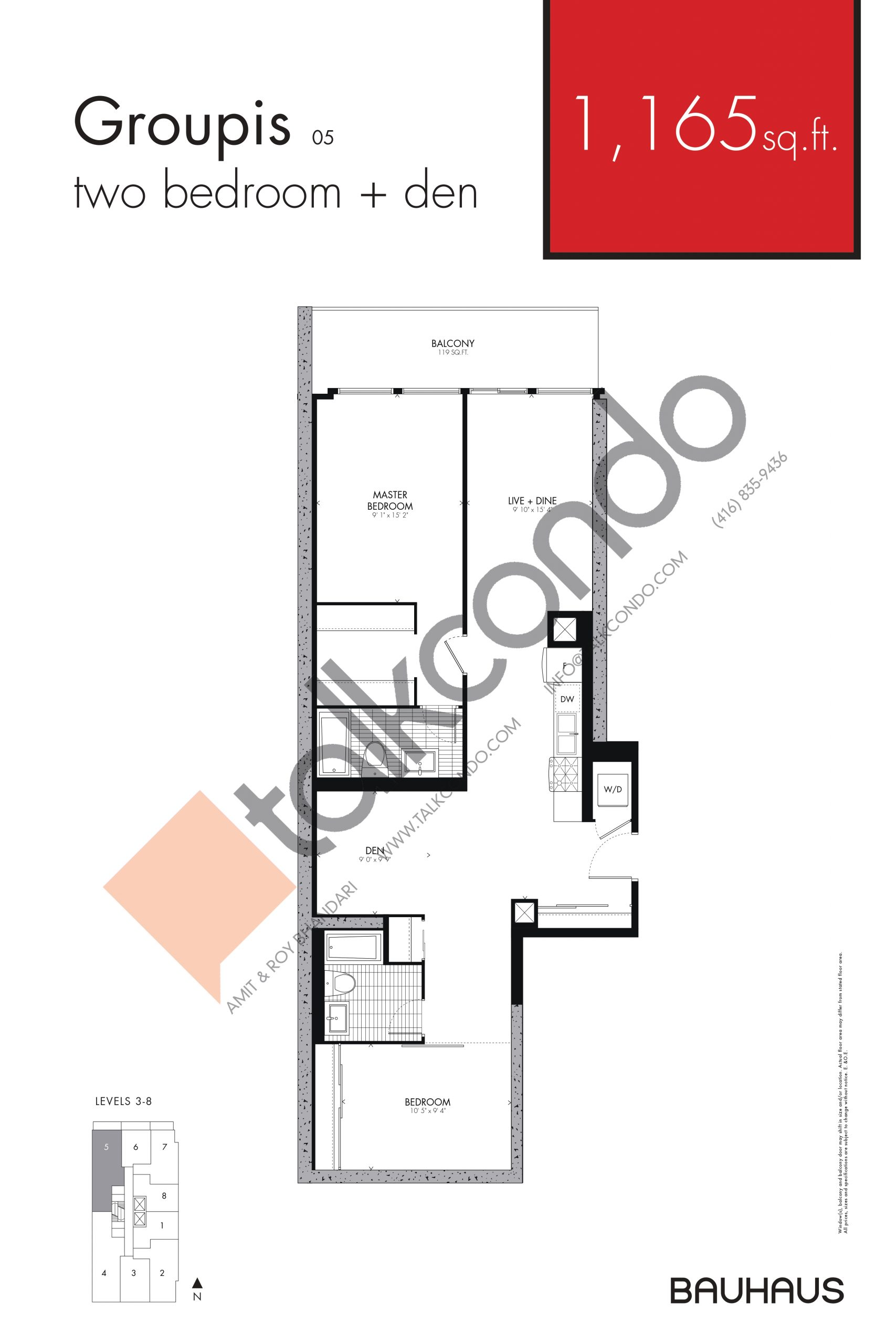 Groupis Floor Plan at Bauhaus Condos - 1165 sq.ft