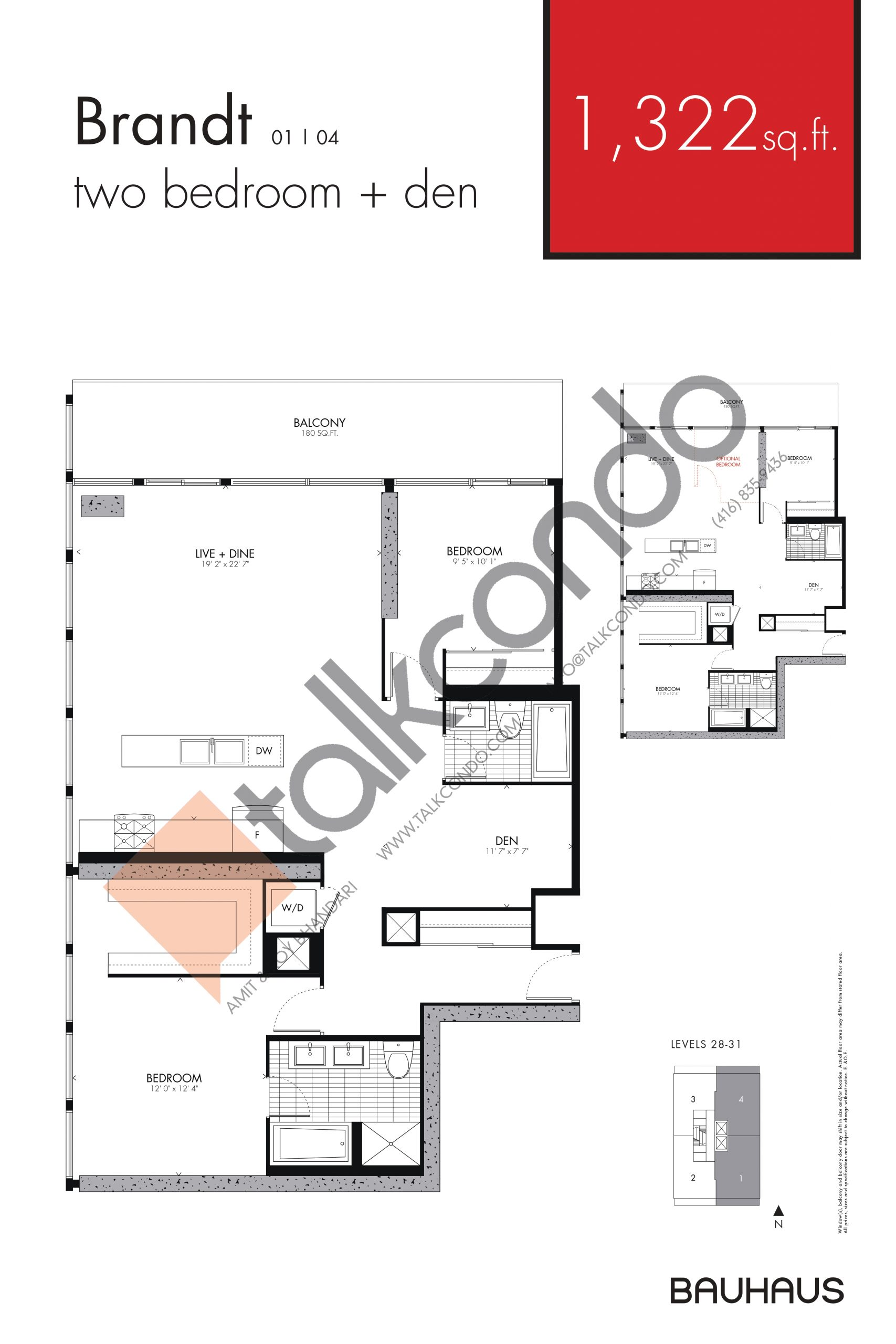 Brandt Floor Plan at Bauhaus Condos - 1322 sq.ft