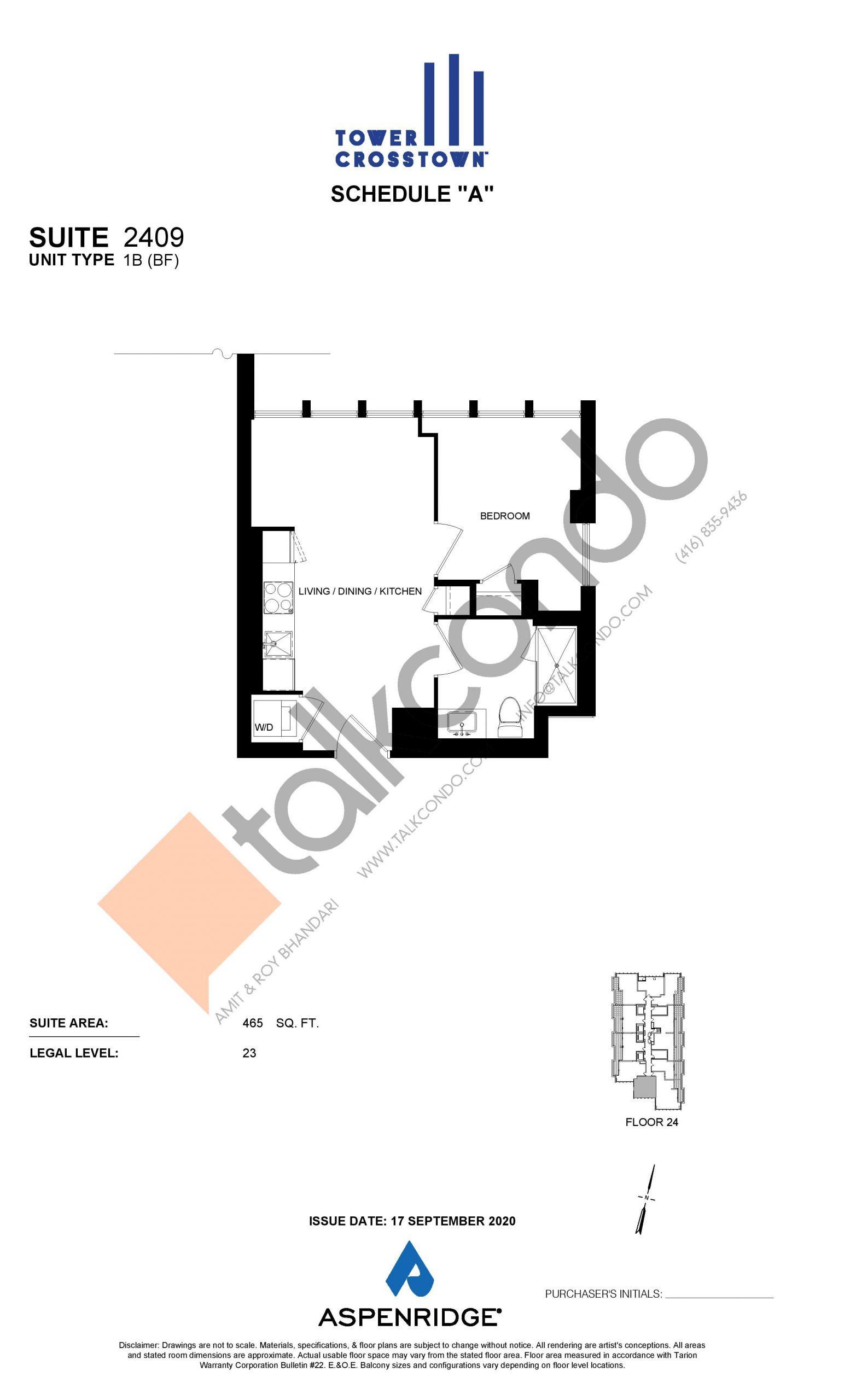 Suite 2409 - IB (BF) Floor Plan at Crosstown Tower 3 Condos - 465 sq.ft