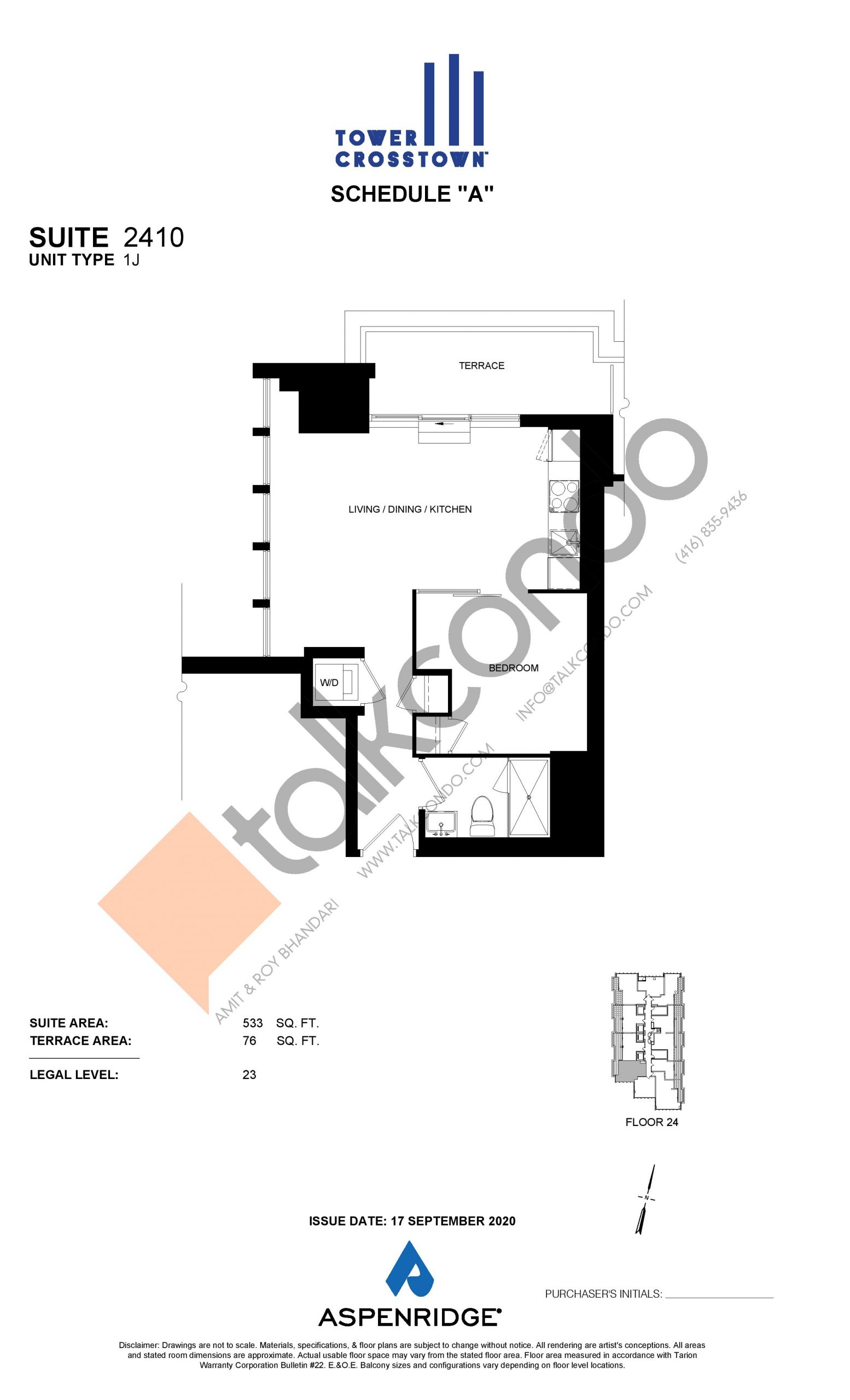 Suite 2410 - 1J Floor Plan at Crosstown Tower 3 Condos - 533 sq.ft
