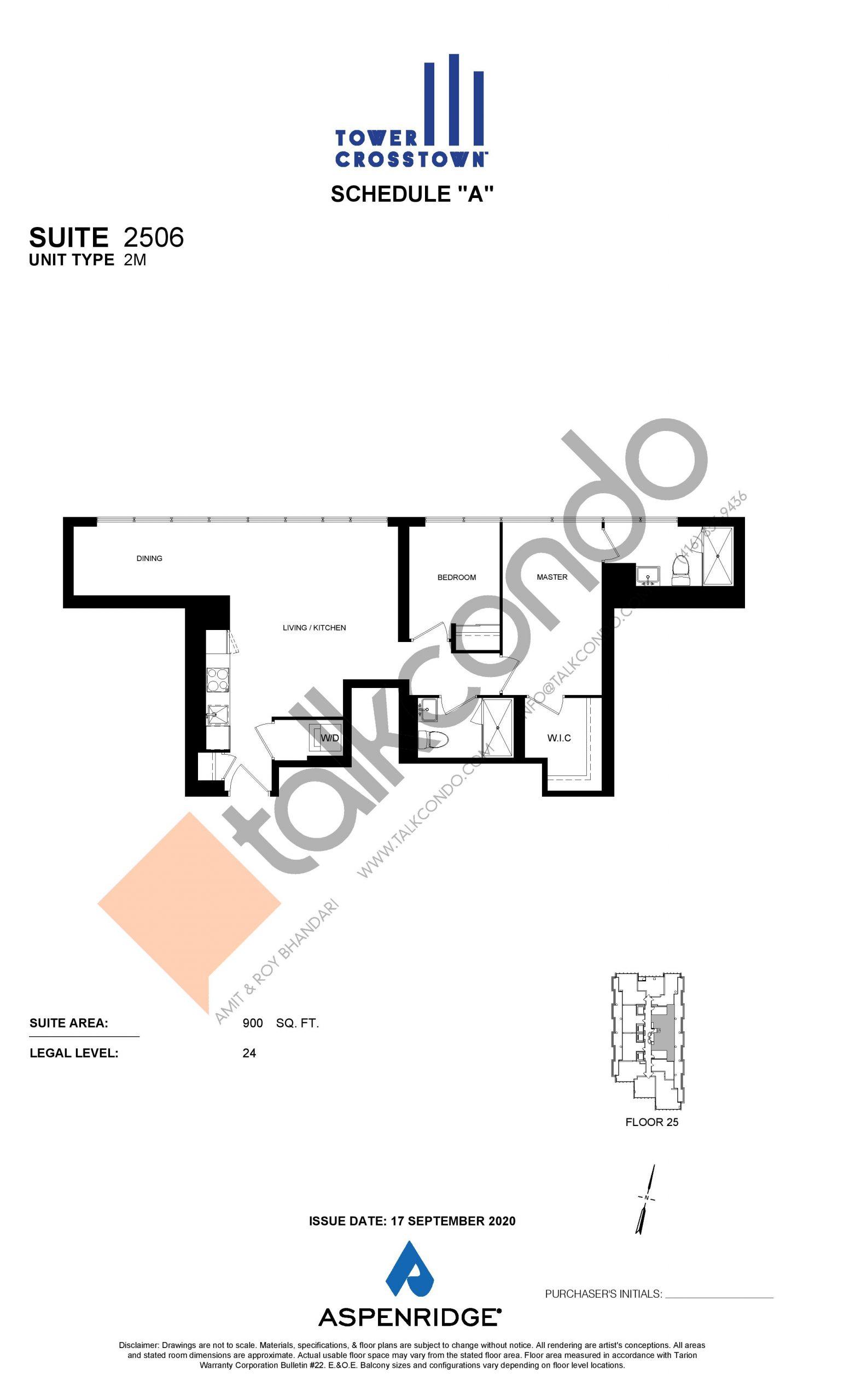 Suite 2506 - 2M Floor Plan at Crosstown Tower 3 Condos - 900 sq.ft