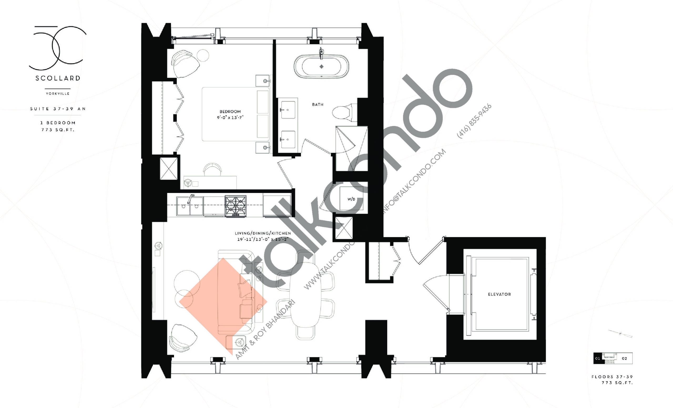 Suite 37-39 AN Floor Plan at Fifty Scollard Condos - 773 sq.ft