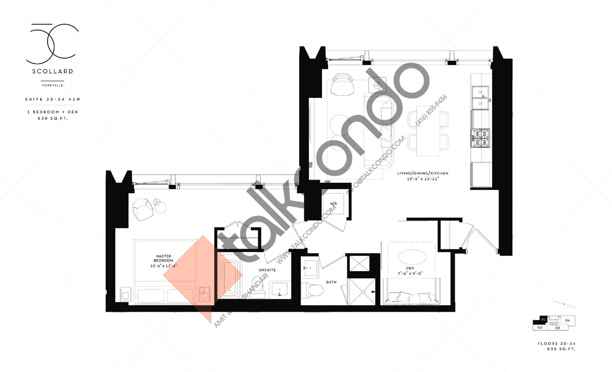 Suite 30-34 A1N Floor Plan at Fifty Scollard Condos - 830 sq.ft