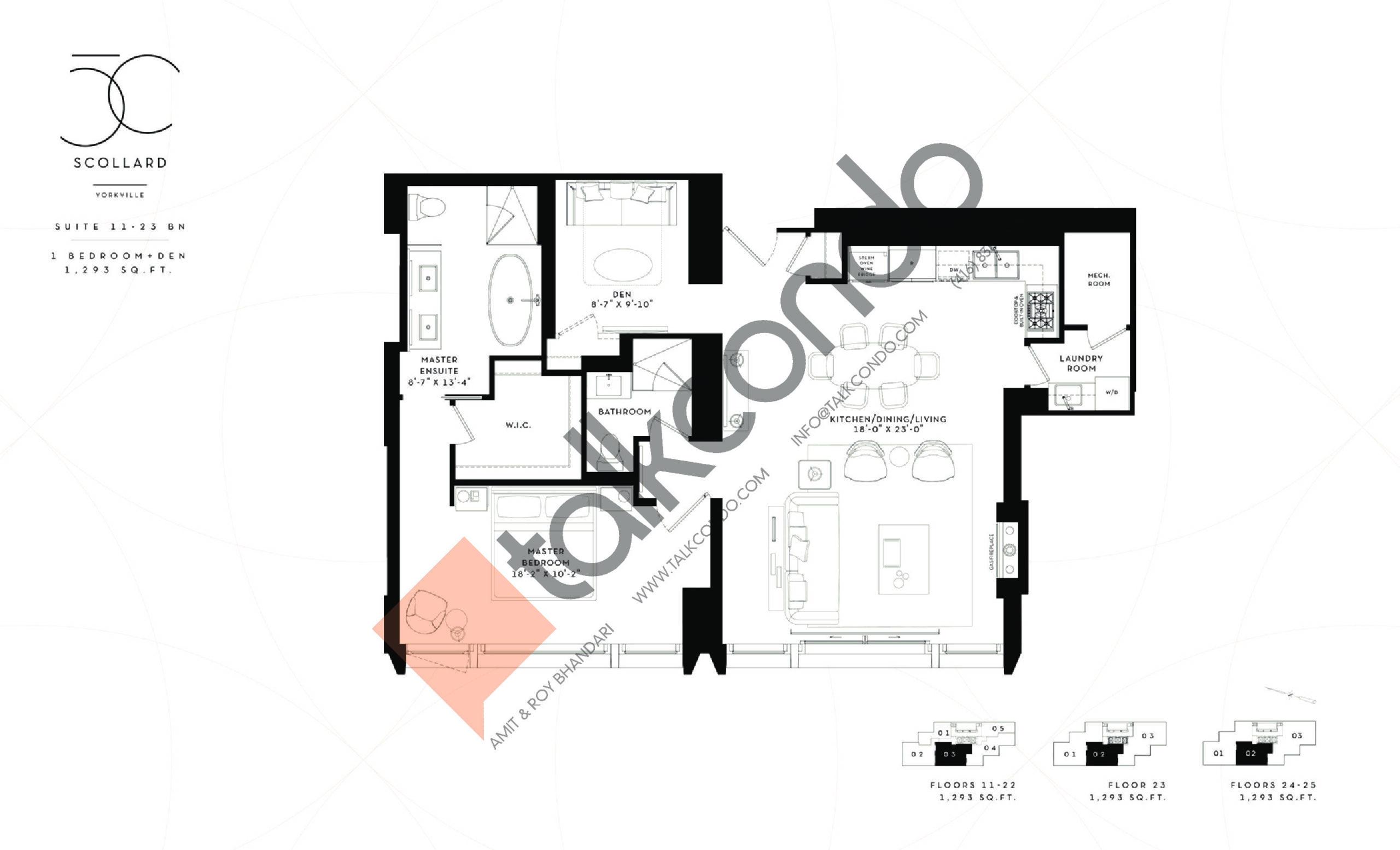 Suite 11-23 BN Floor Plan at Fifty Scollard Condos - 1293 sq.ft