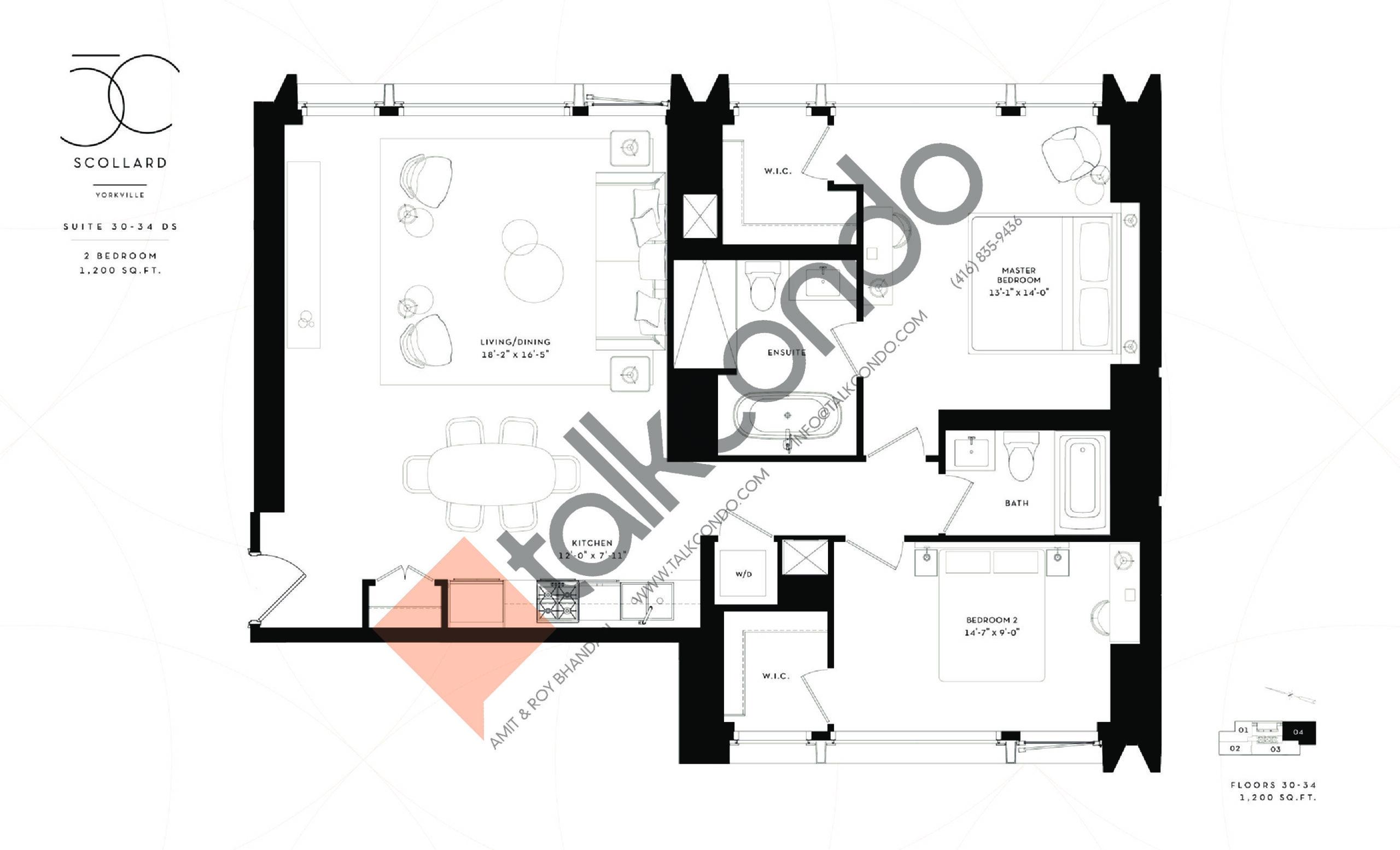 Suite 30-34 DS Floor Plan at Fifty Scollard Condos - 1200 sq.ft