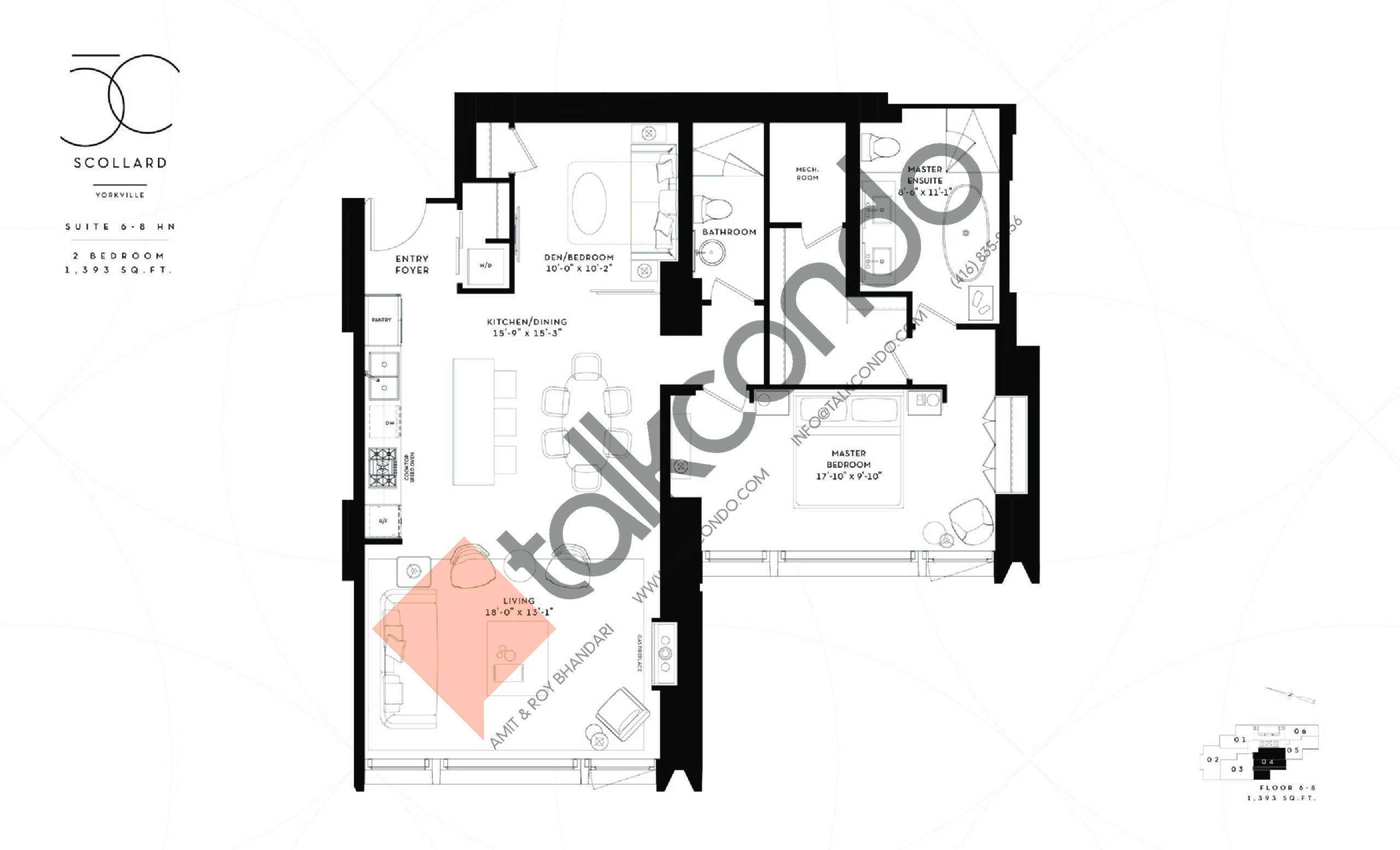 Suite 6-8 HN Floor Plan at Fifty Scollard Condos - 1393 sq.ft