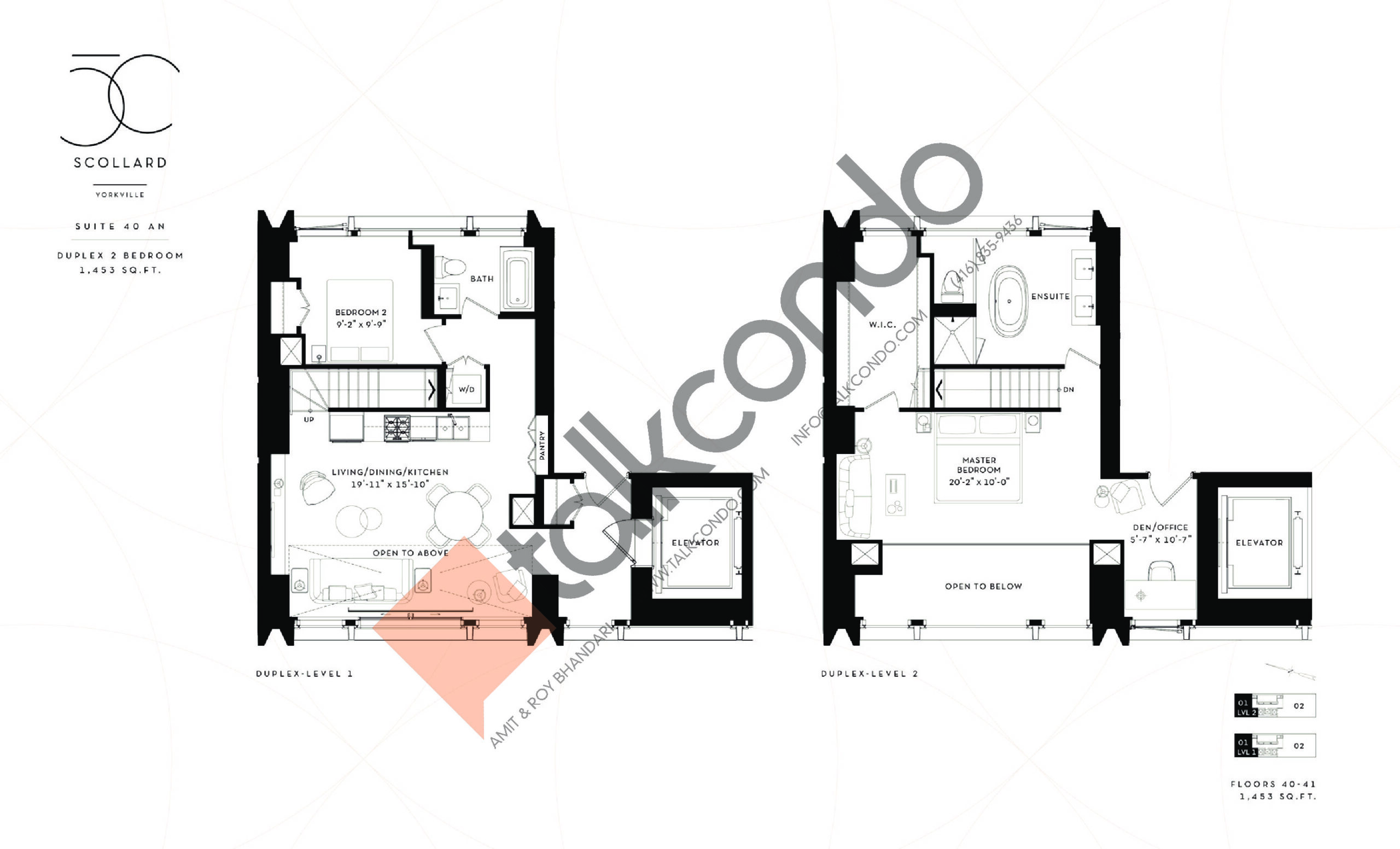 Suite 40 AN Floor Plan at Fifty Scollard Condos - 1453 sq.ft