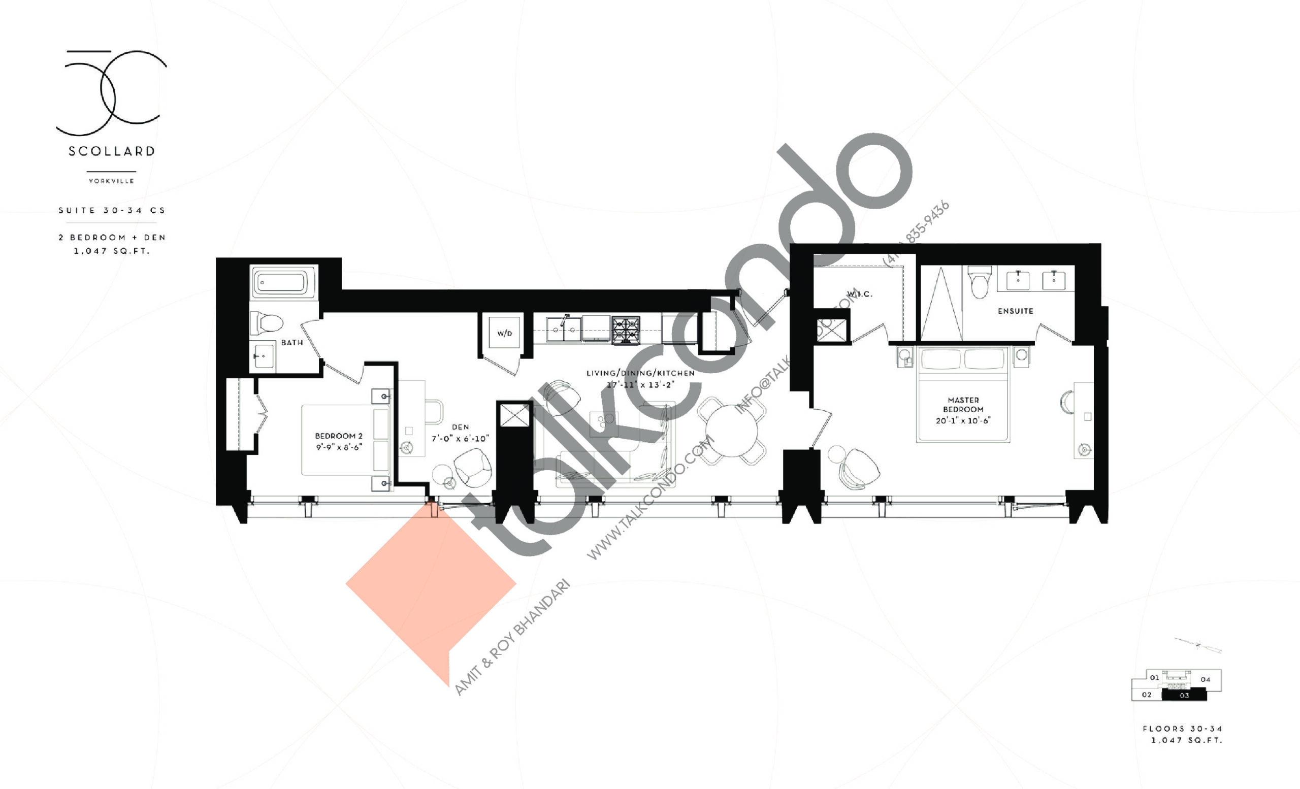 Suite 30-34 CS Floor Plan at Fifty Scollard Condos - 1047 sq.ft