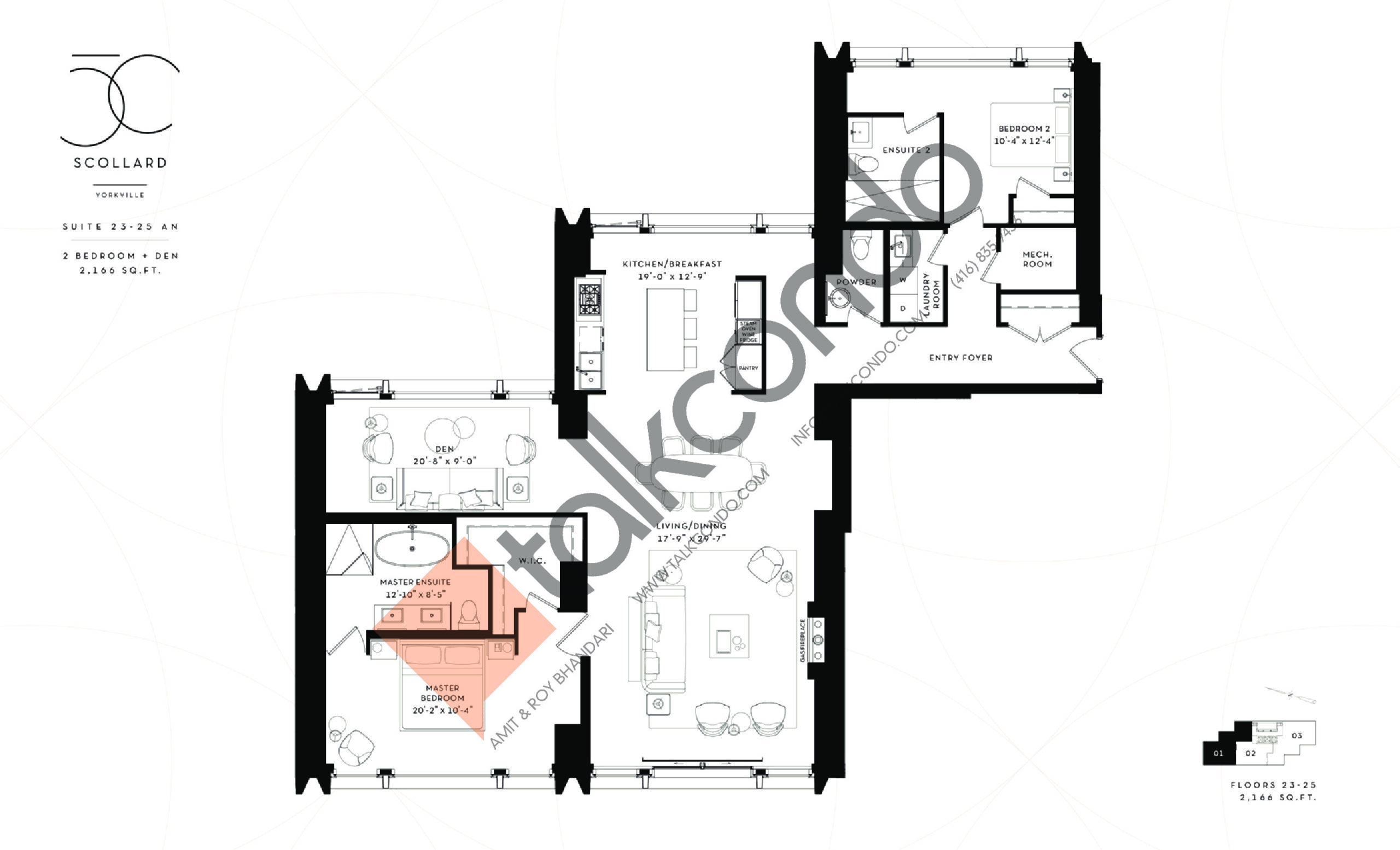 Suite 23-25 AN Floor Plan at Fifty Scollard Condos - 2166 sq.ft