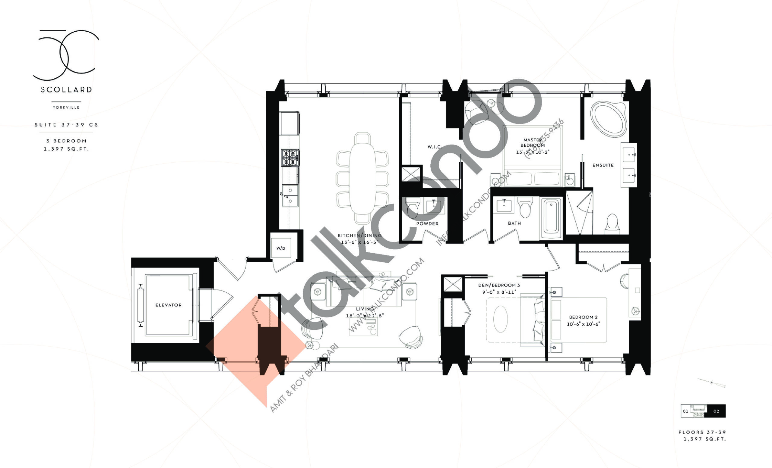 Suite 37-39 CS Floor Plan at Fifty Scollard Condos - 1397 sq.ft