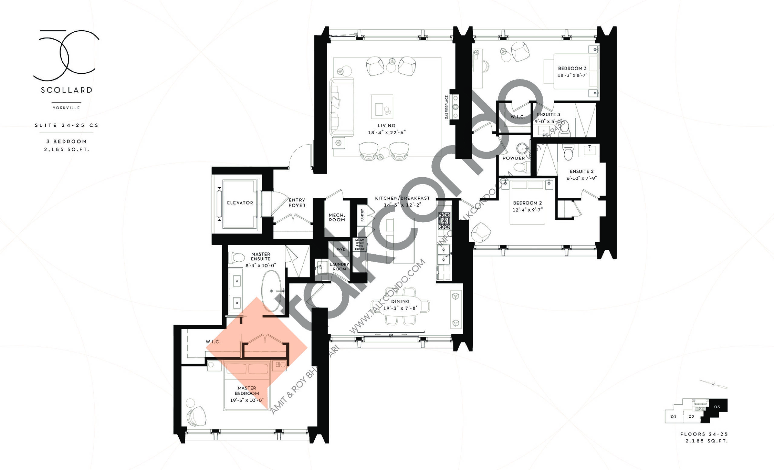 Suite 24-25 CS Floor Plan at Fifty Scollard Condos - 2185 sq.ft