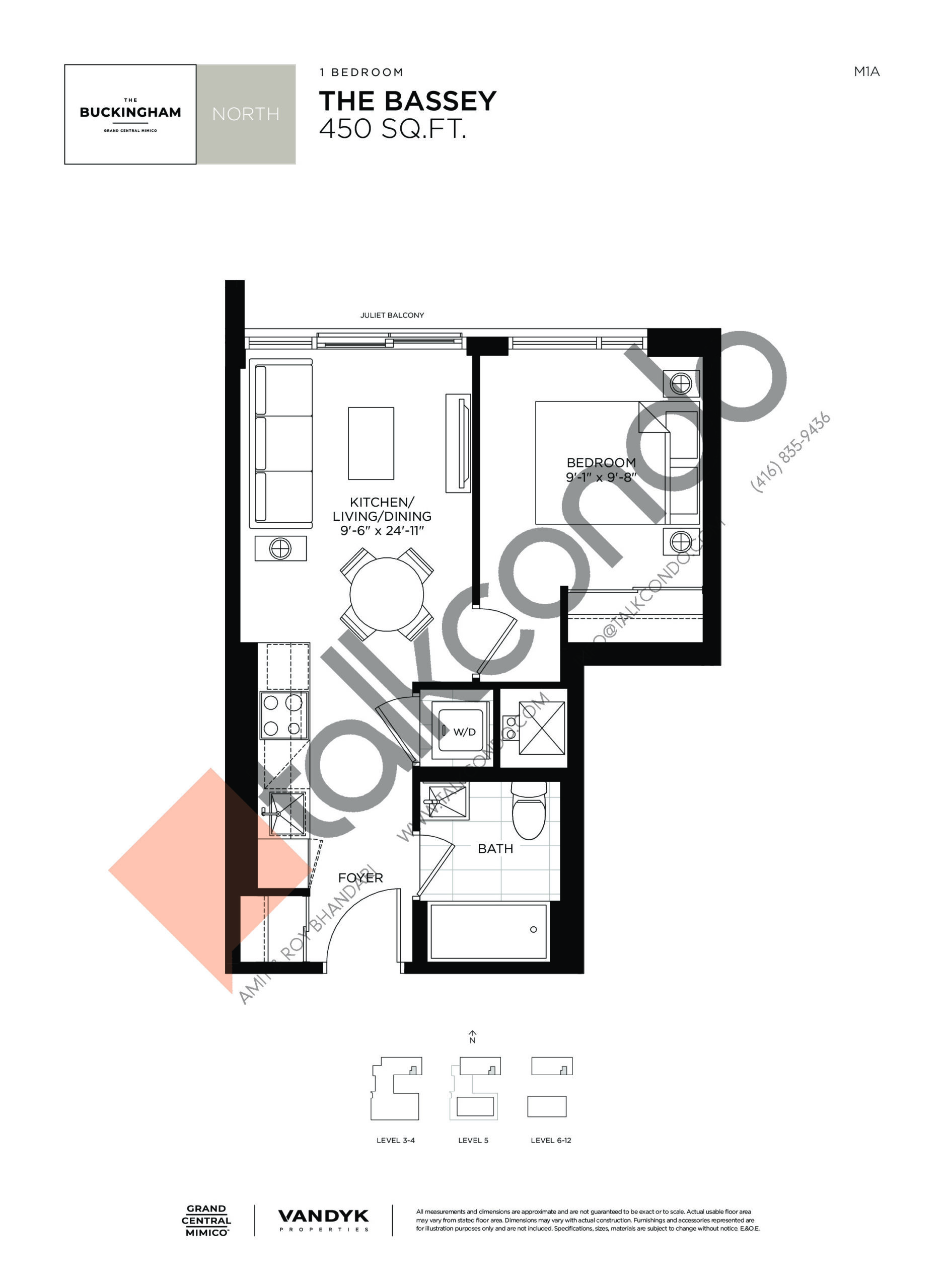 The Bassey Floor Plan at Grand Central Mimico Condos - 450 sq.ft