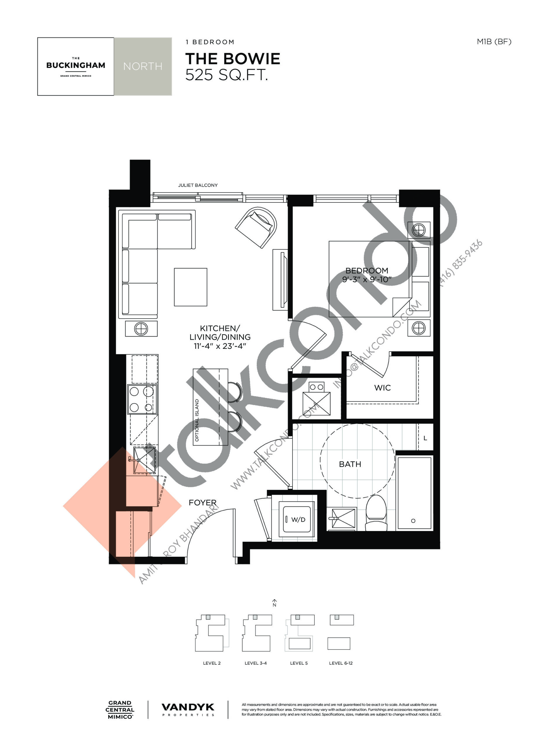 The Bowie Floor Plan at Grand Central Mimico Condos - 525 sq.ft