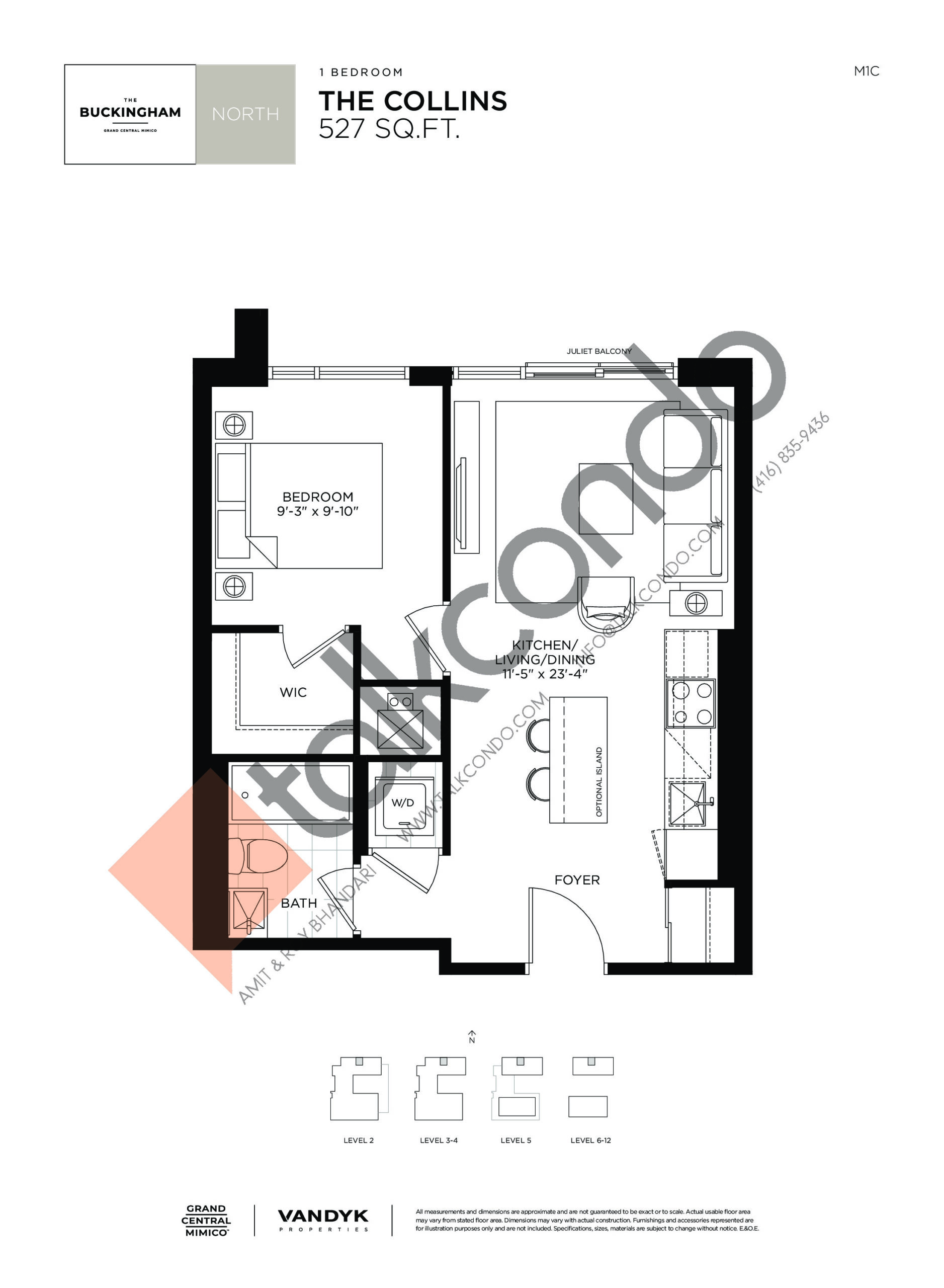 The Collins Floor Plan at Grand Central Mimico Condos - 527 sq.ft