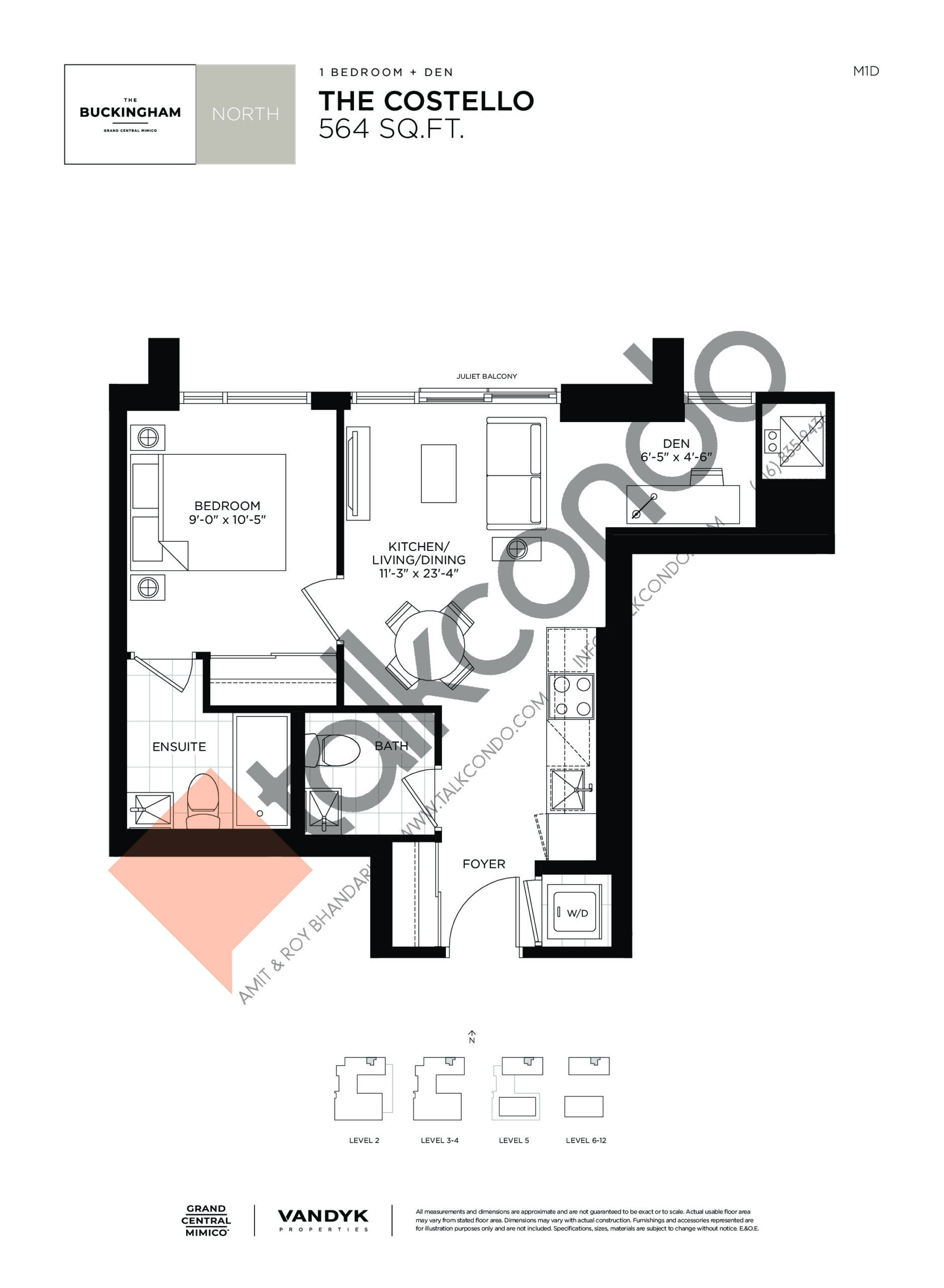 The Costello Floor Plan at Grand Central Mimico Condos - 564 sq.ft
