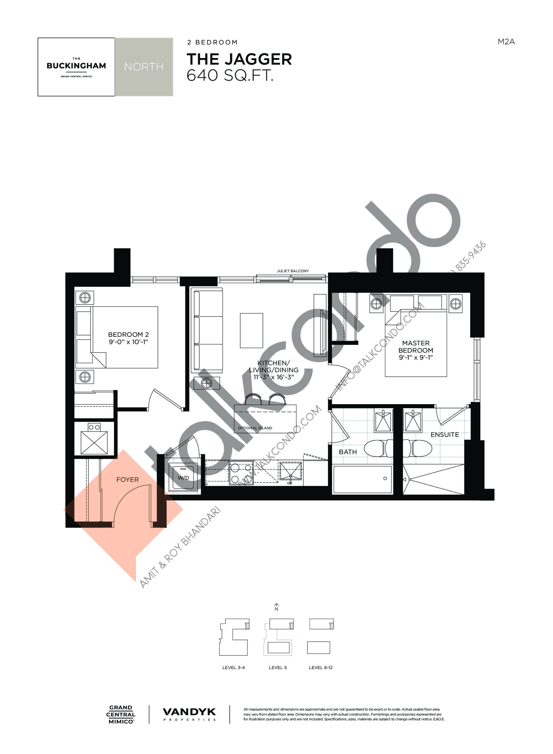 The Jagger Floor Plan at Grand Central Mimico Condos - 640 sq.ft