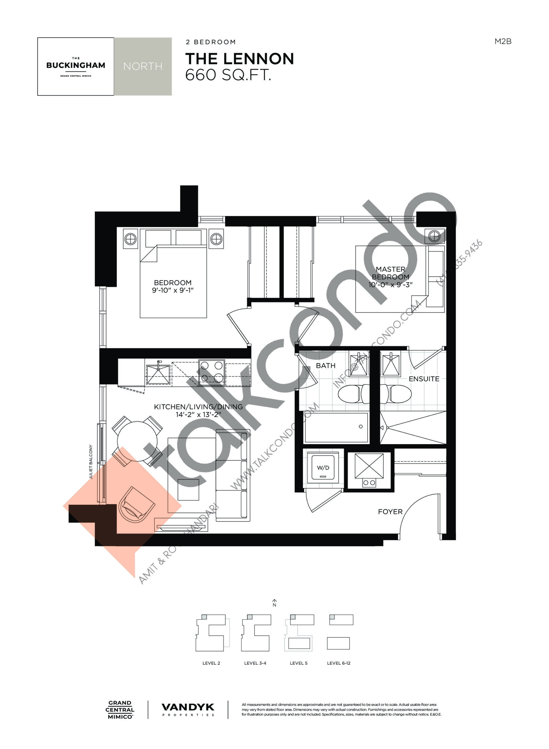 The Lennon Floor Plan at Grand Central Mimico Condos - 660 sq.ft