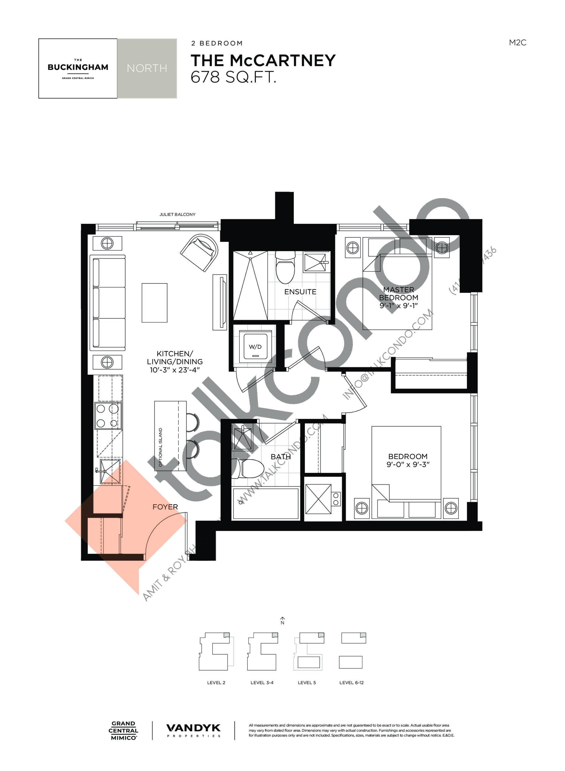 The McCartney Floor Plan at Grand Central Mimico Condos - 678 sq.ft