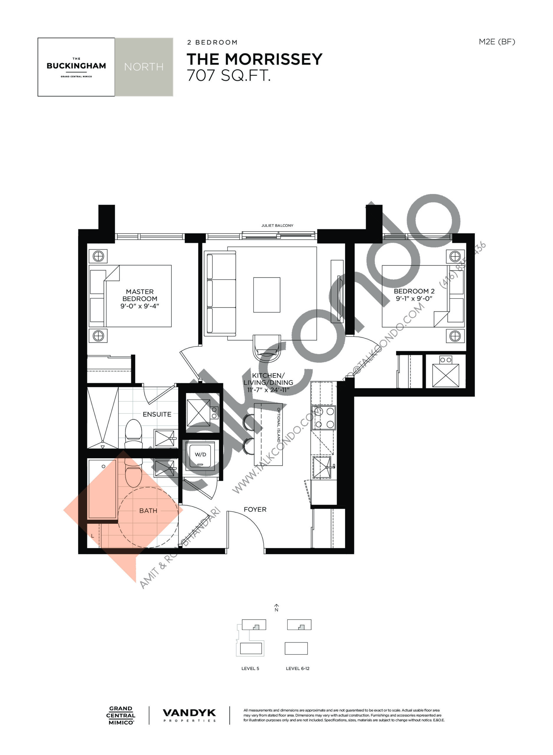 The Morrissey Floor Plan at Grand Central Mimico Condos - 707 sq.ft