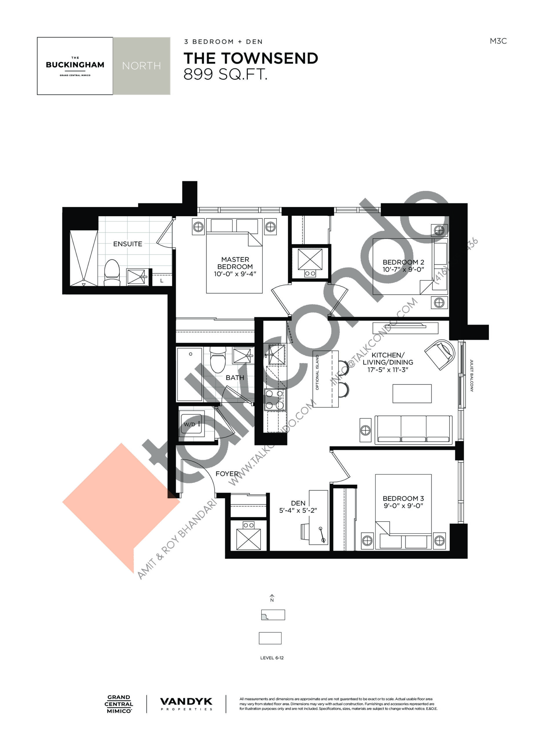 The Townsend Floor Plan at Grand Central Mimico Condos - 899 sq.ft