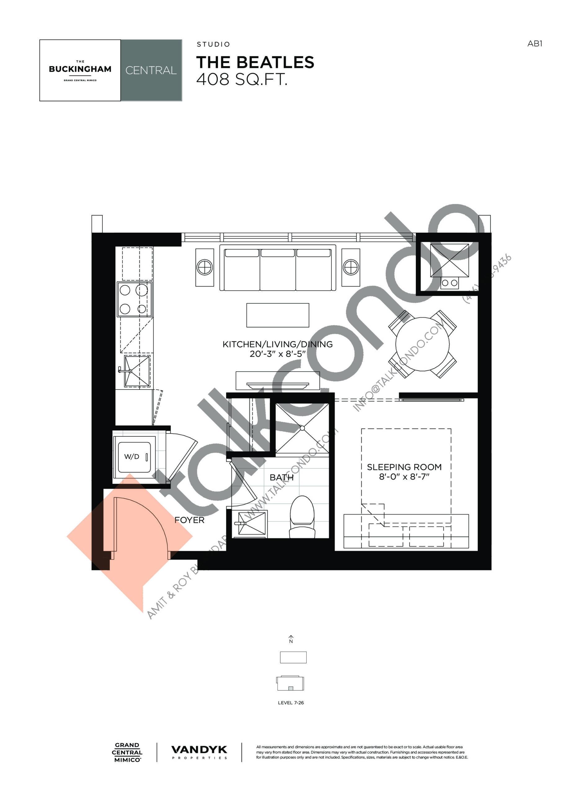The Beatles Floor Plan at Grand Central Mimico Condos - 408 sq.ft